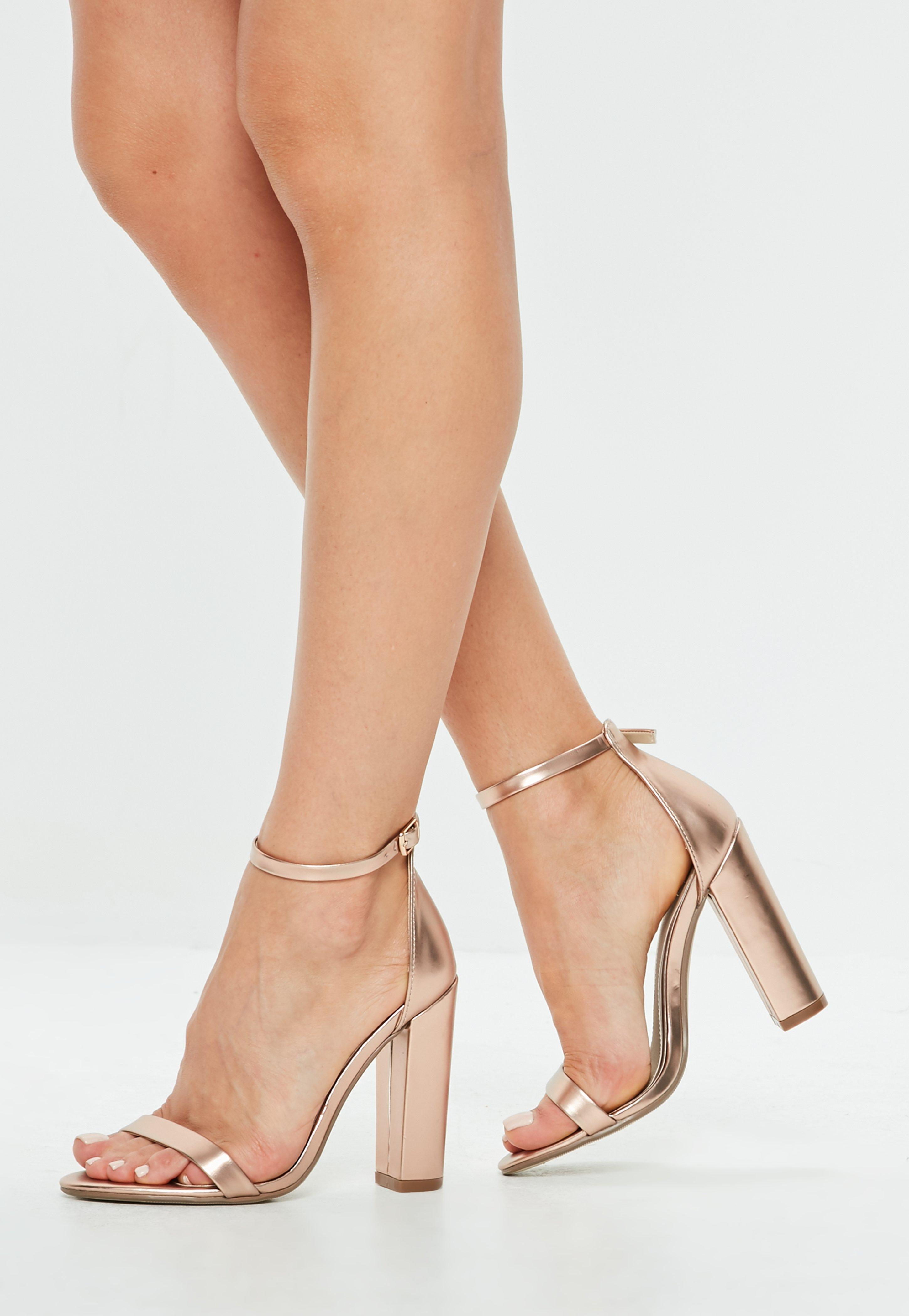 7339fb0722a Lyst - Missguided Rose Gold Matt Block Heel Sandals in Pink
