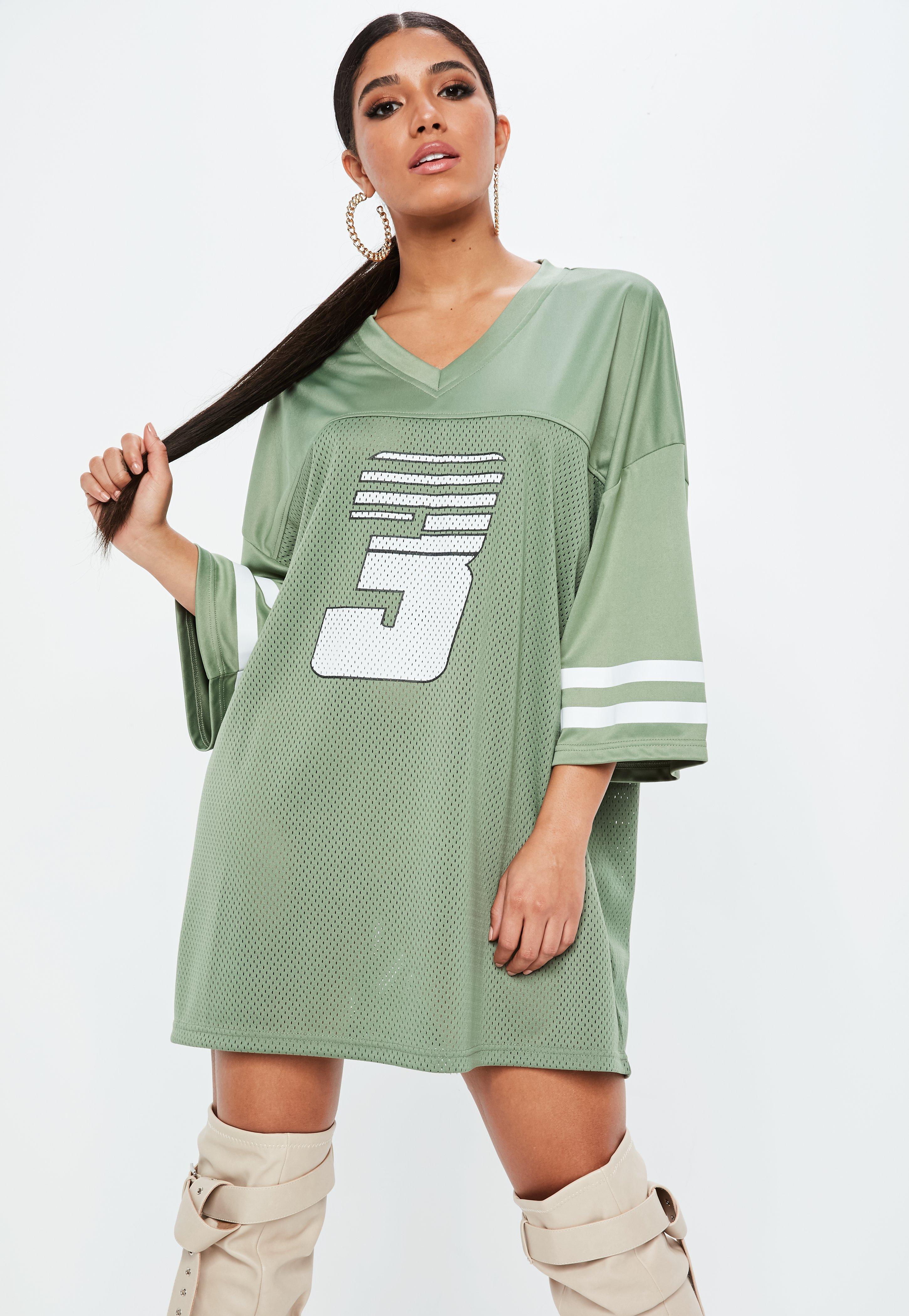 Lyst - Missguided Green American Football Mesh T-shirt Dress in Green 6ec928be9