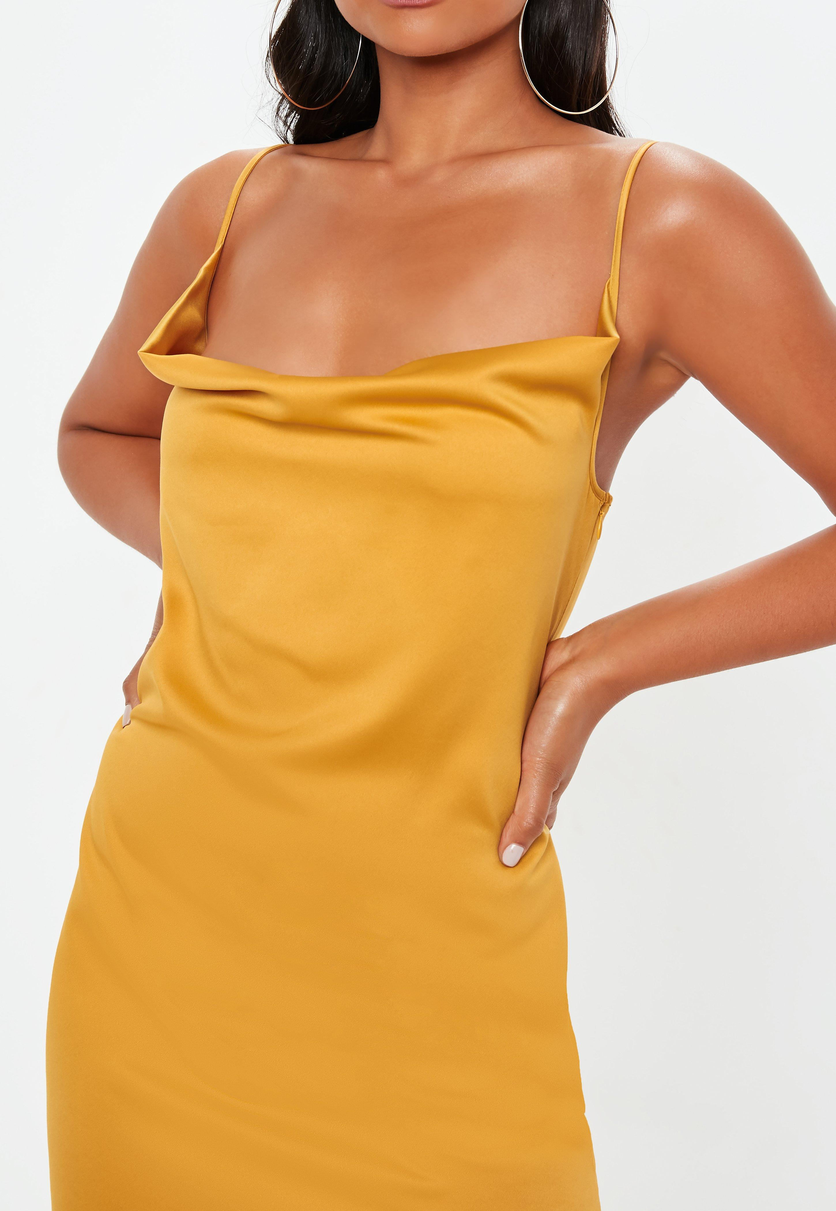 68d8e5fdc5 Missguided - Yellow Strappy Cowl Midi Dress - Lyst. View fullscreen