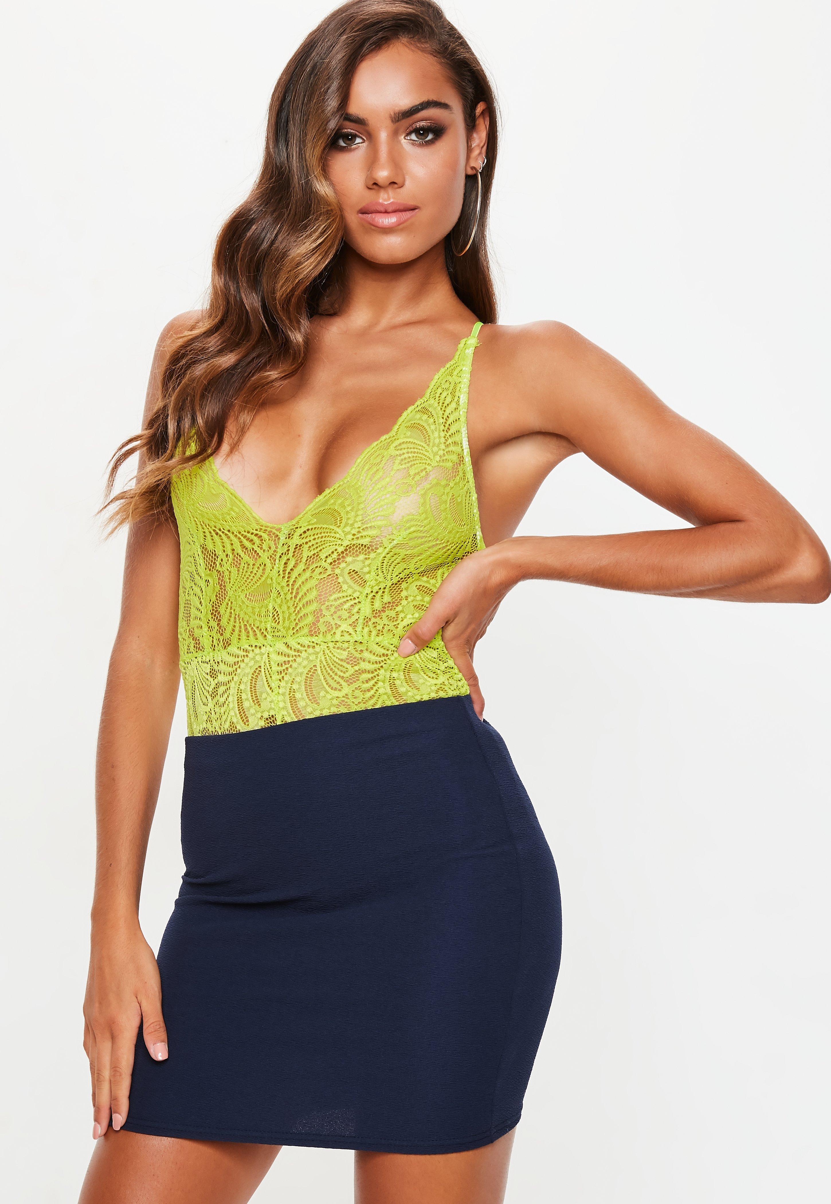 ef7b6da1697 Missguided Neon Green Lace Cami Bodysuit in Green - Lyst