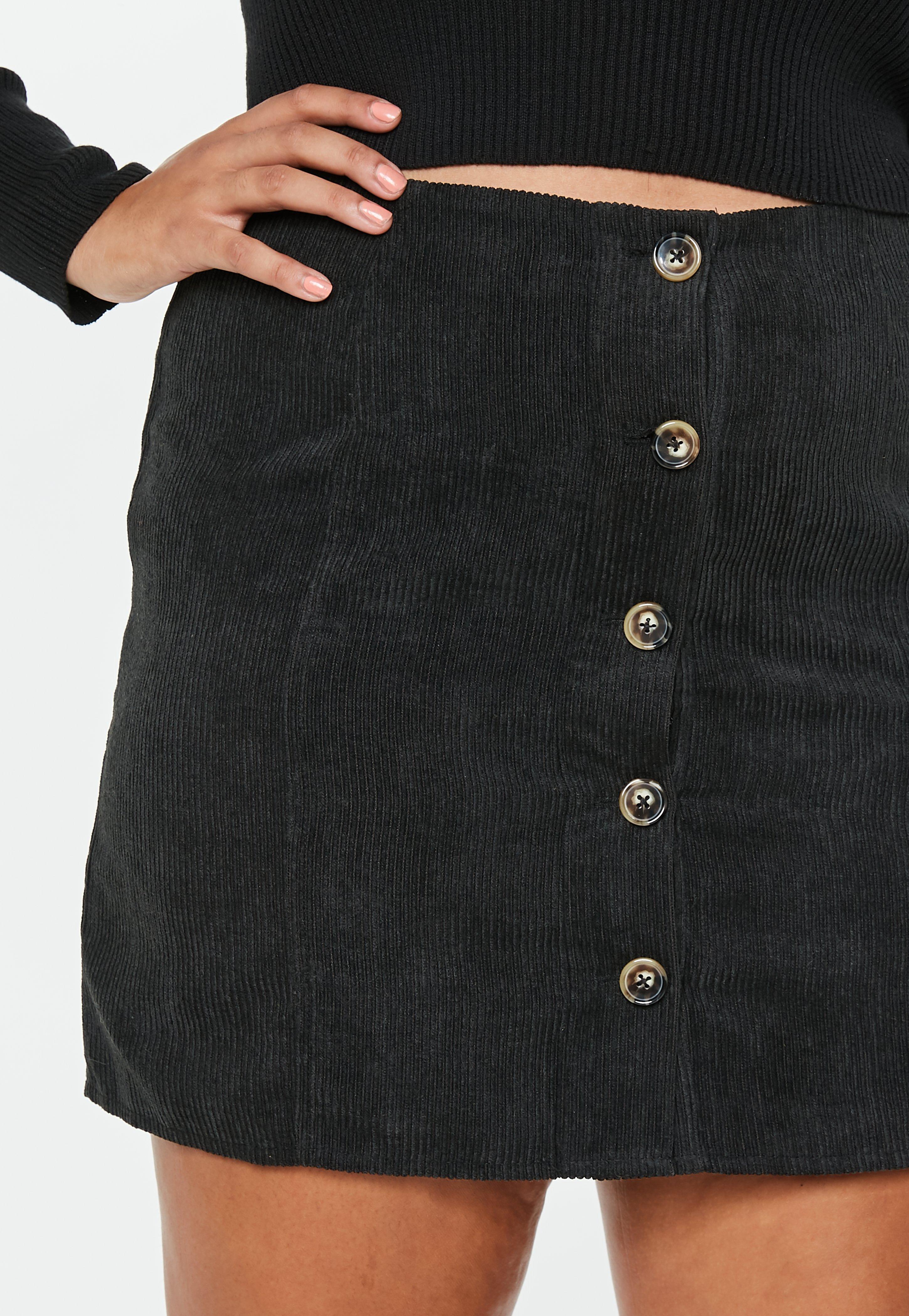 aceab57e91 Lyst - Missguided Plus Size Black Button Through Cord Mini Skirt in ...