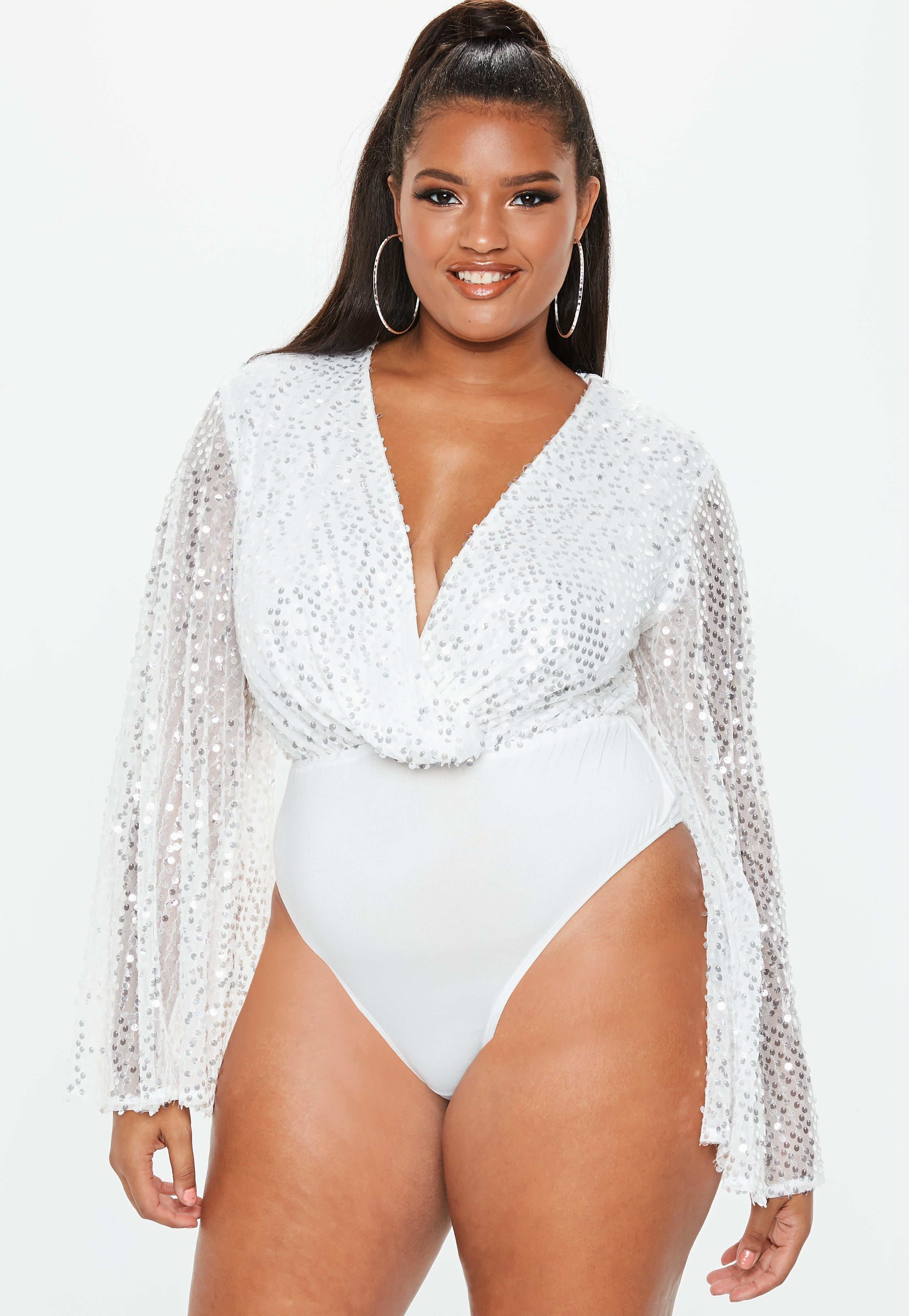 Missguided - Plus Size White Sequin Plunge Bodysuit - Lyst. View fullscreen 2bf3477aa