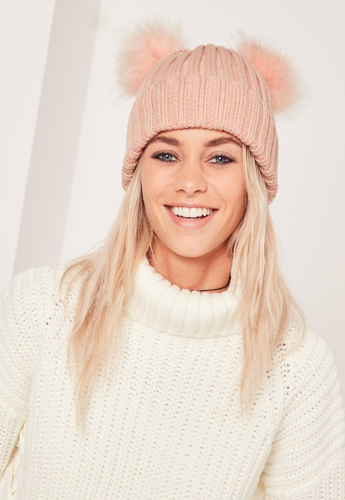 Lyst - Missguided Double Pom Beanie Hat Pink in Pink 093bc0235674