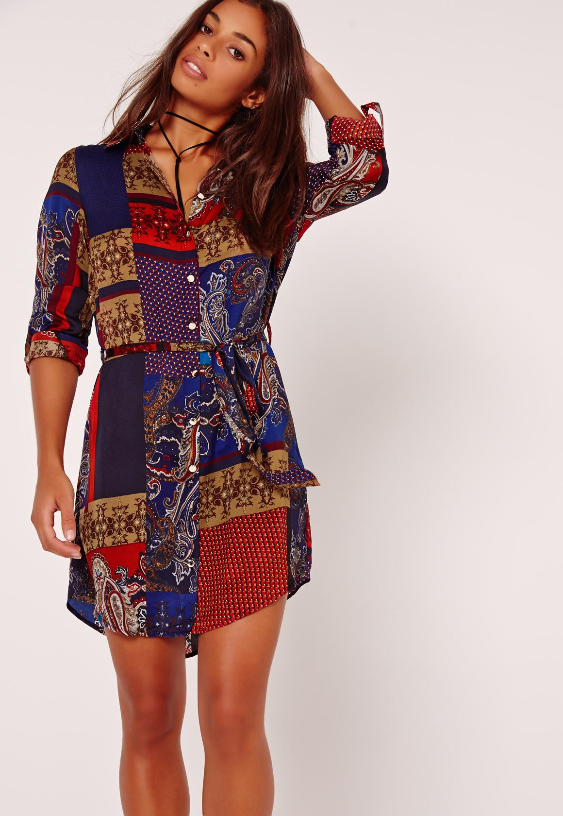 Missguided Deep Paisley Shirt Dress Multi In Blue Lyst