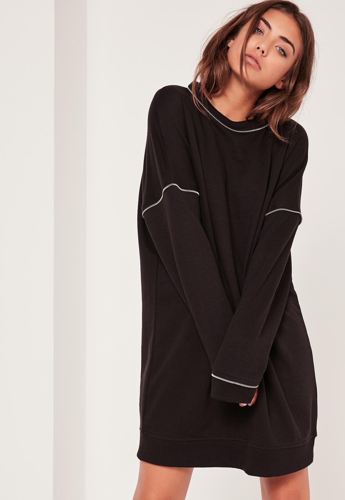 Missguided Zip Detail Jumper Dress Black In Black | Lyst