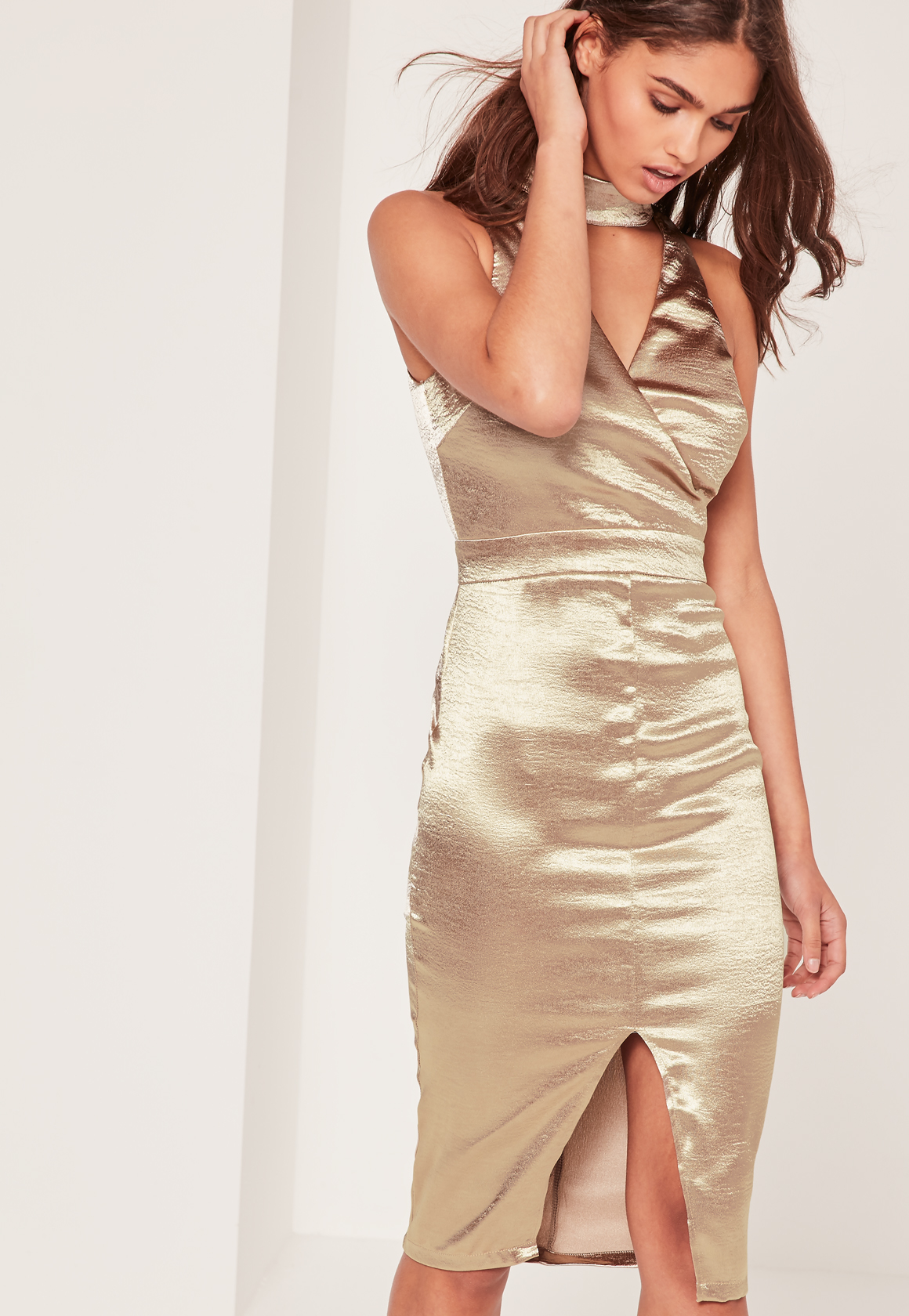 Missguided Satin High Neck Cut Out Midi Dress Gold in Metallic | Lyst