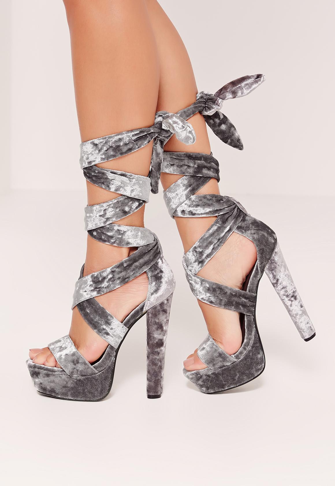 7685a15e293 Missguided Velvet Ankle Wrap Platform Heels Grey in Gray - Lyst
