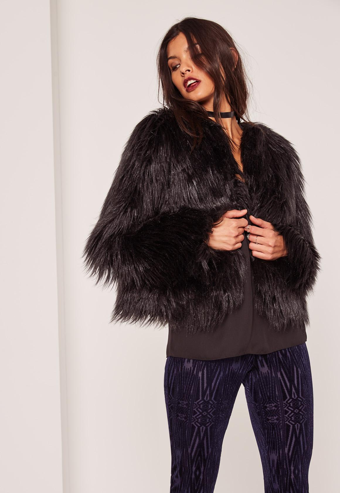 Missguided shaggy faux fur coat black in black lyst for Lack fur kuchenschranke