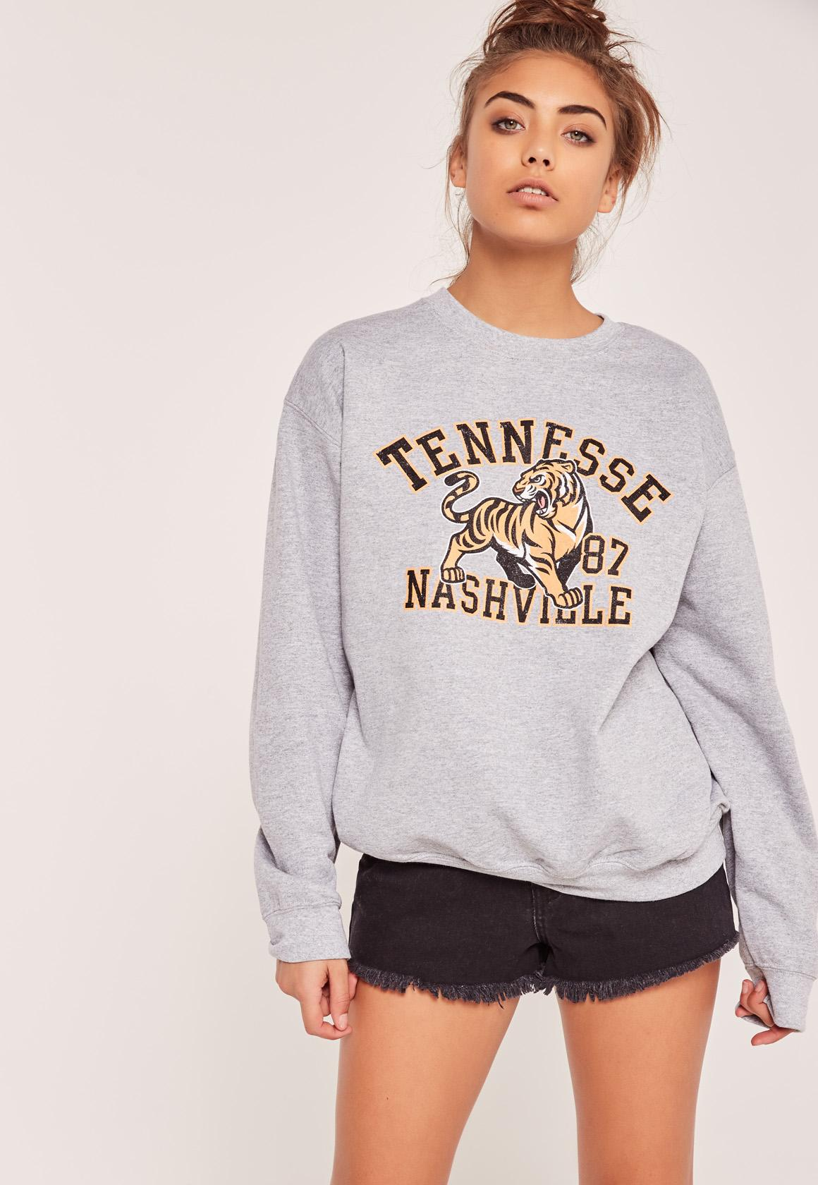 Missguided tennessee nashville sweatshirt grey in gray lyst