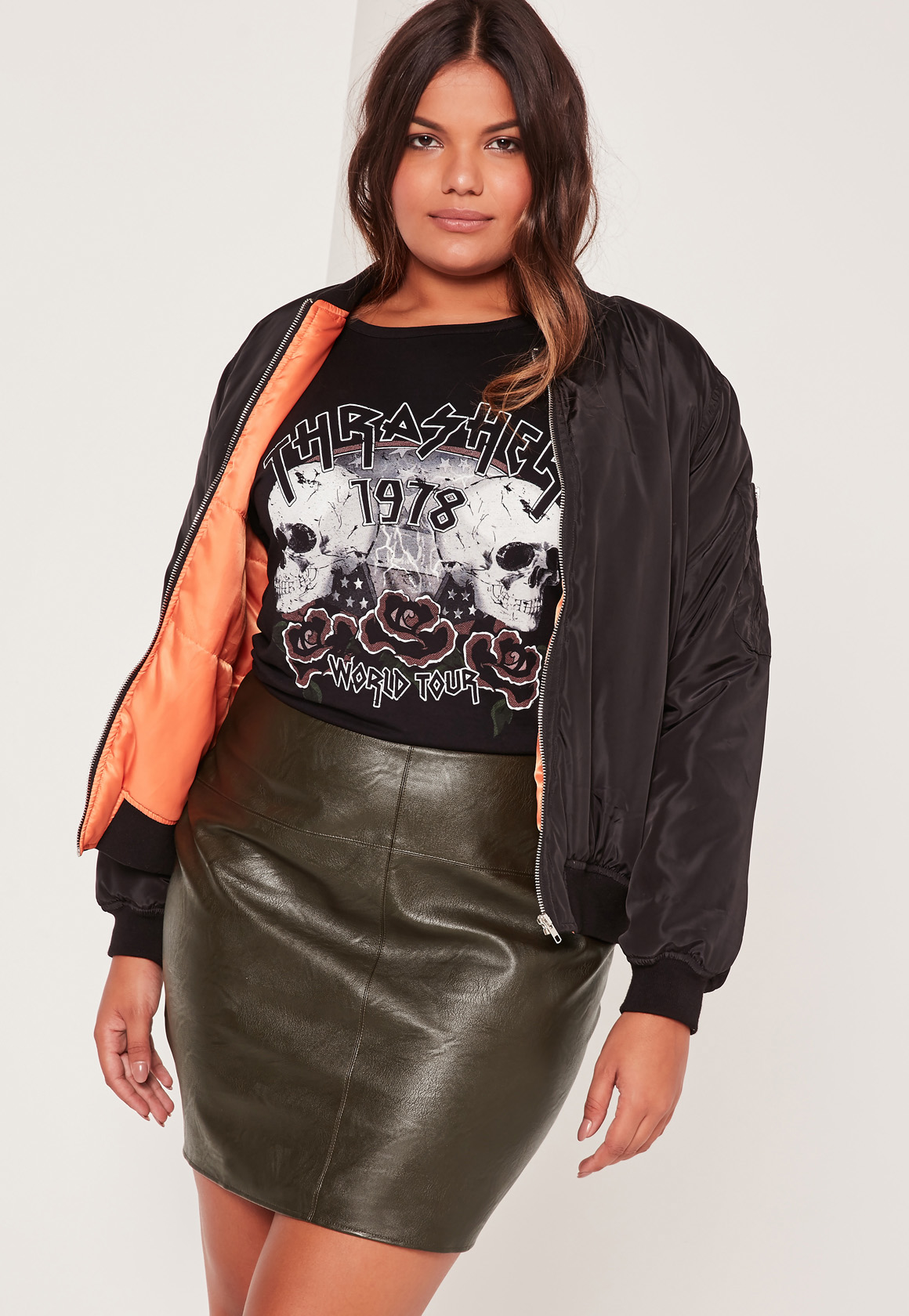 missguided plus size faux leather mini skirt khaki lyst