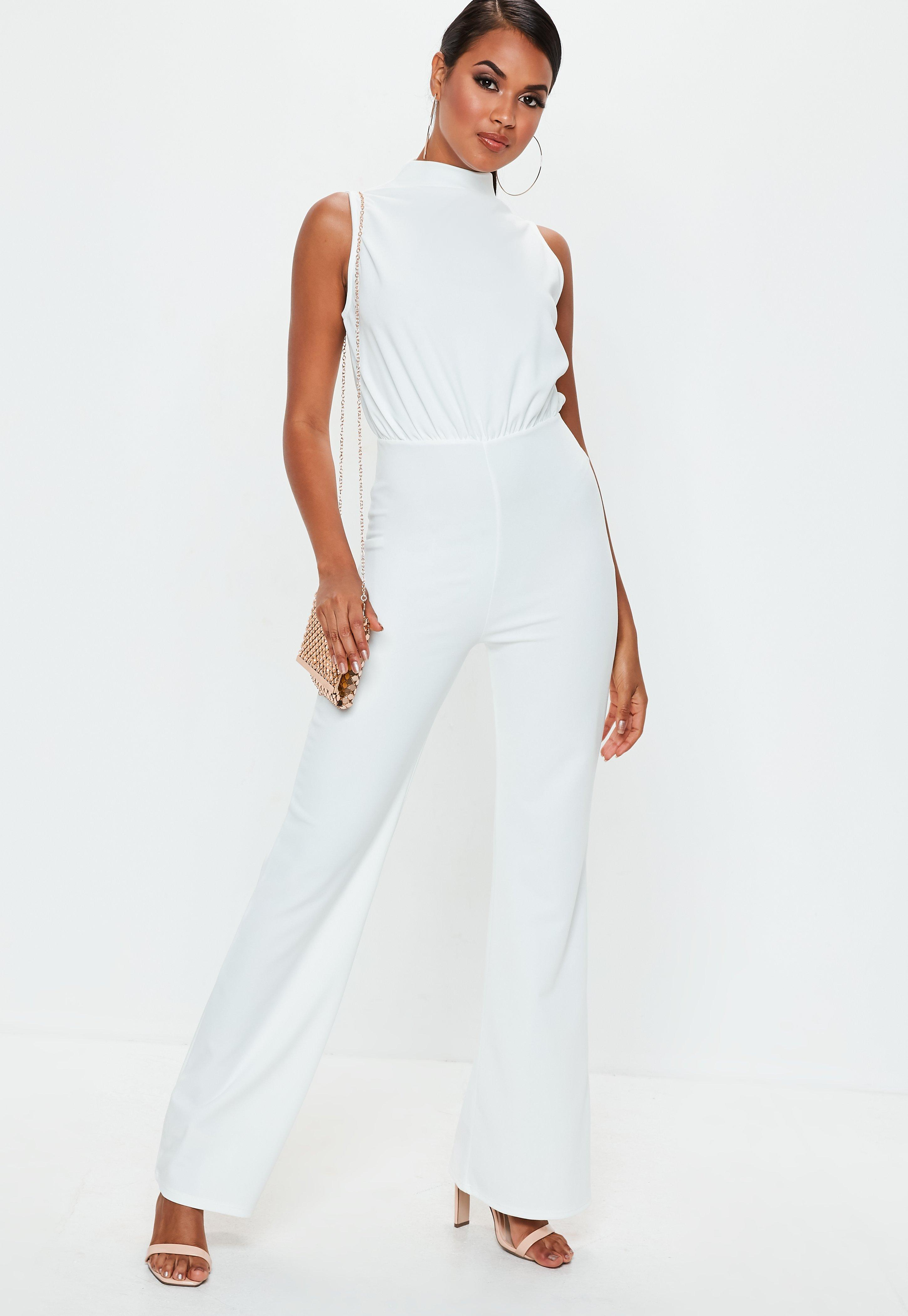 9c4036a88b84 Missguided White High Neck Wide Leg Jumpsuit in White - Lyst