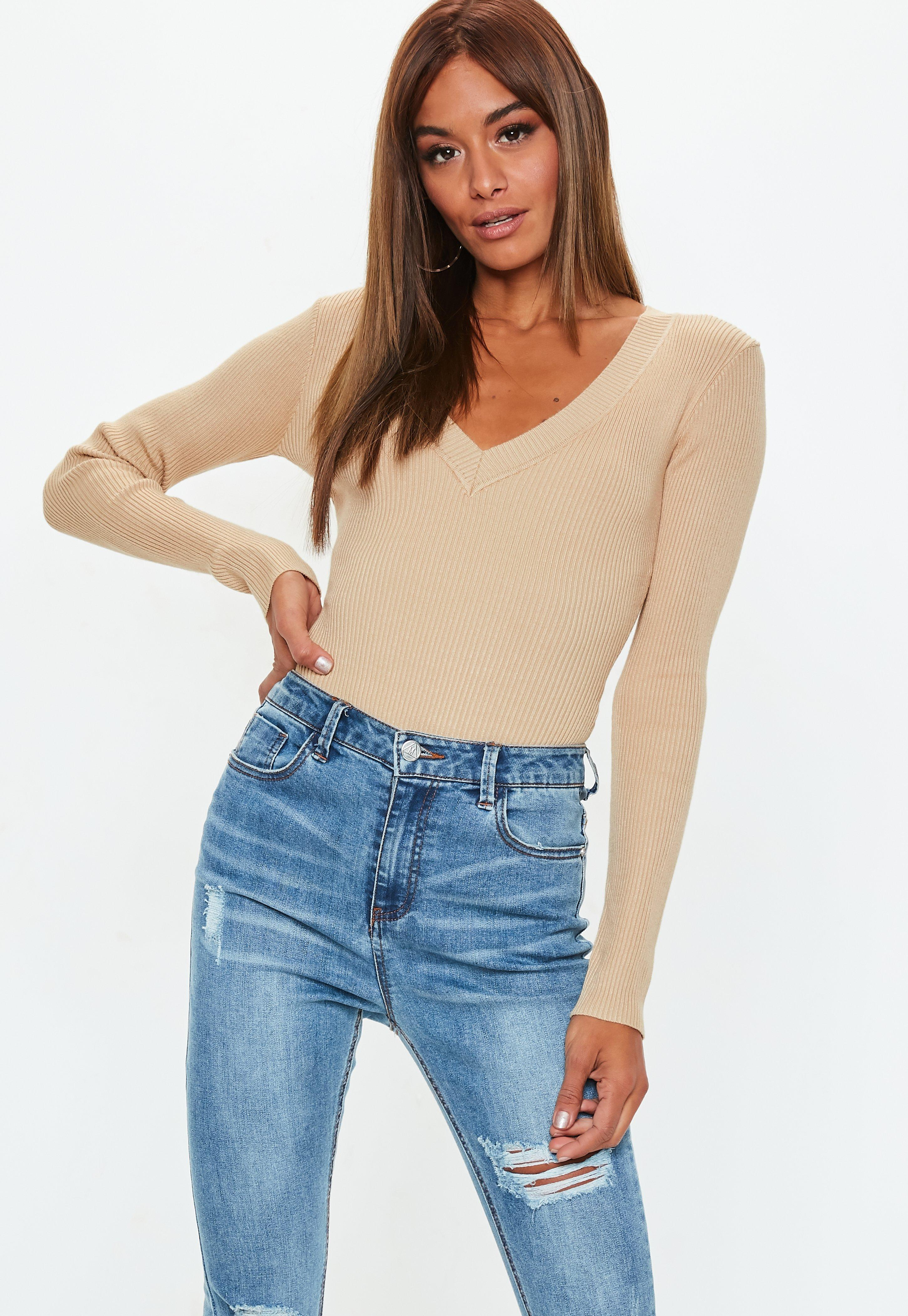 759d2f25d2df Missguided Camel Ultimate Plunge Knitted Bodysuit in Natural - Lyst