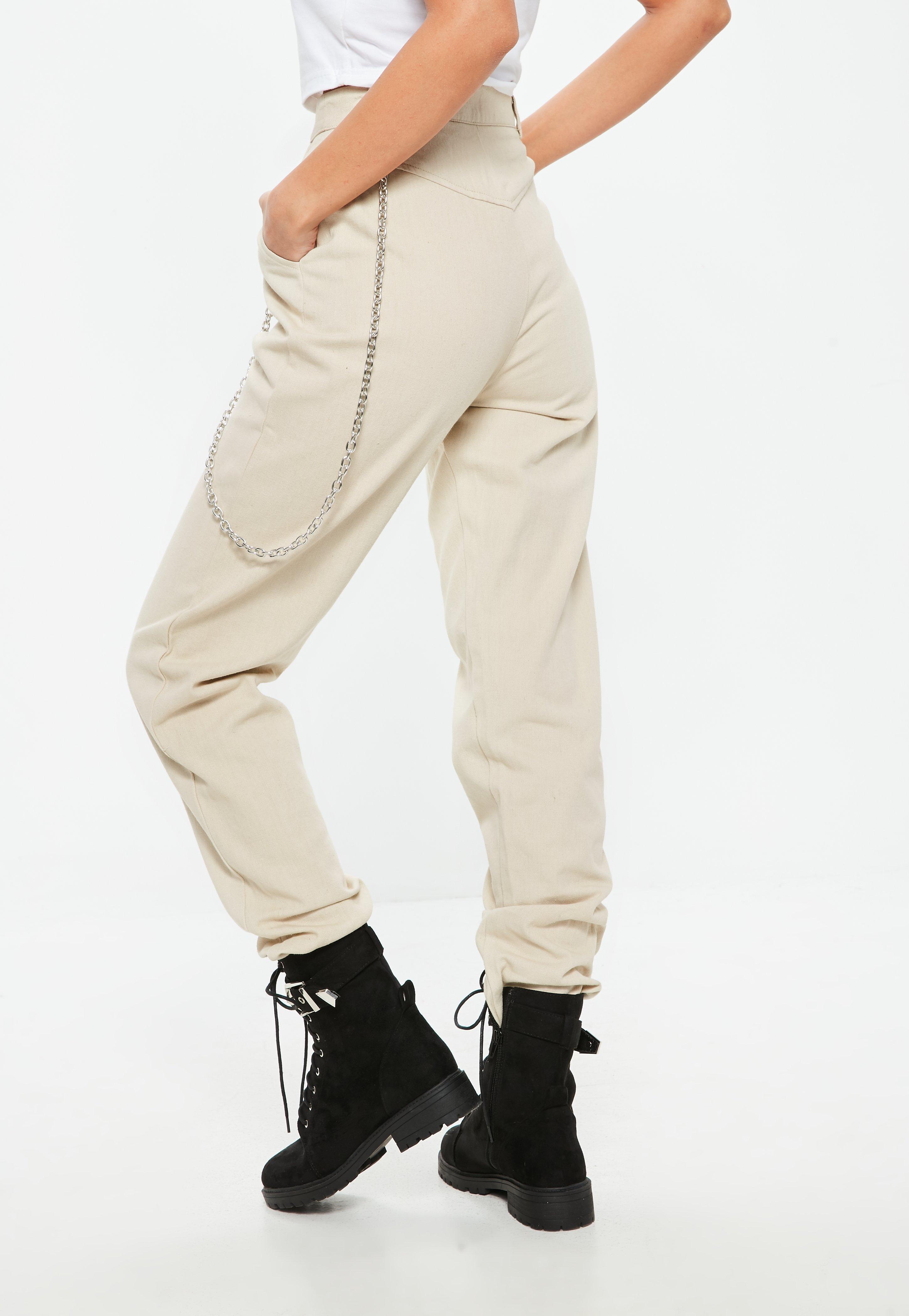 bdcd7ba1 Missguided - Natural Petite Beige Chain Detail Cargo Trousers - Lyst. View  fullscreen