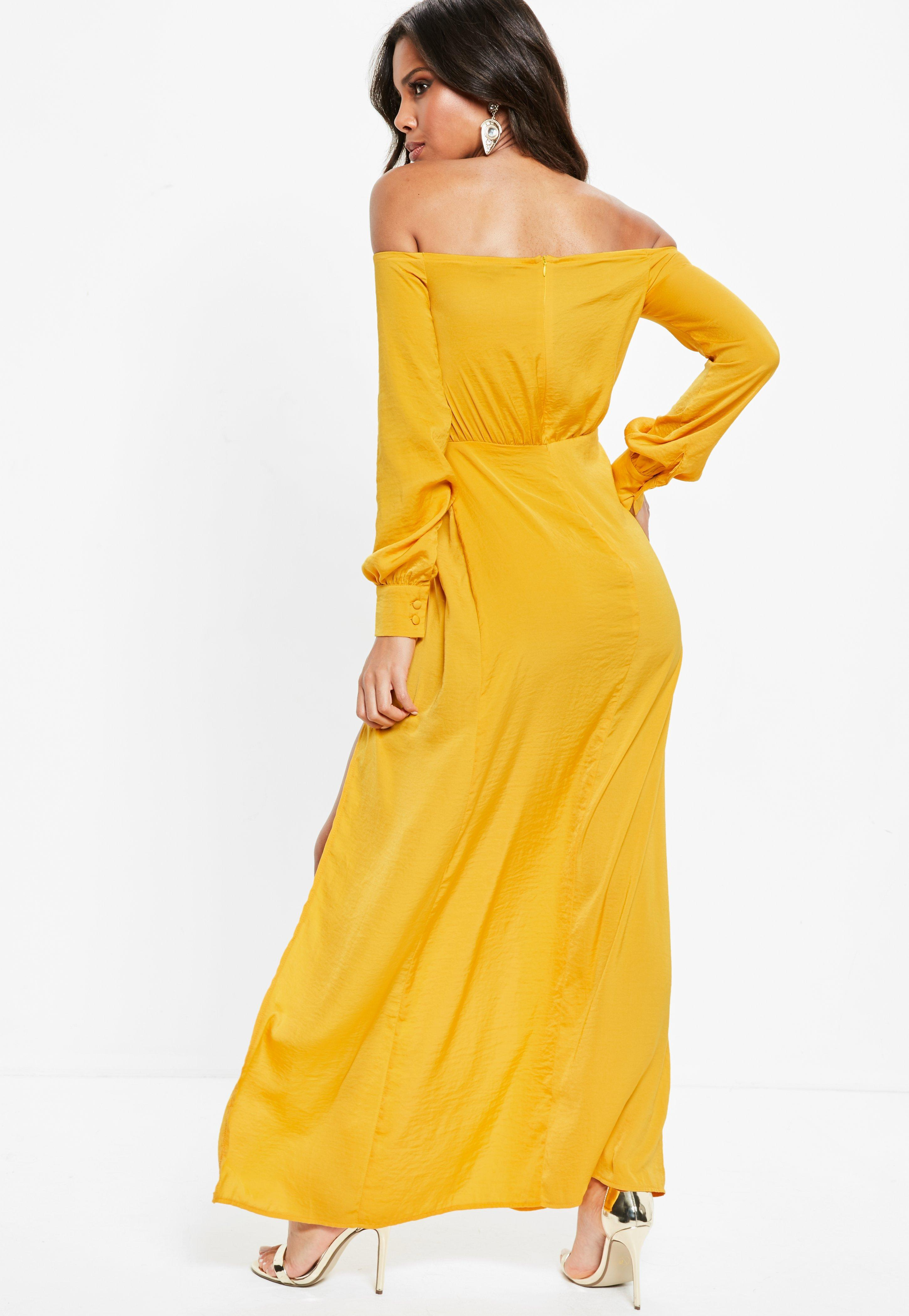 dd3ade8b51ff Missguided Mustard Yellow Satin Bardot Split Front Maxi Dress in ...