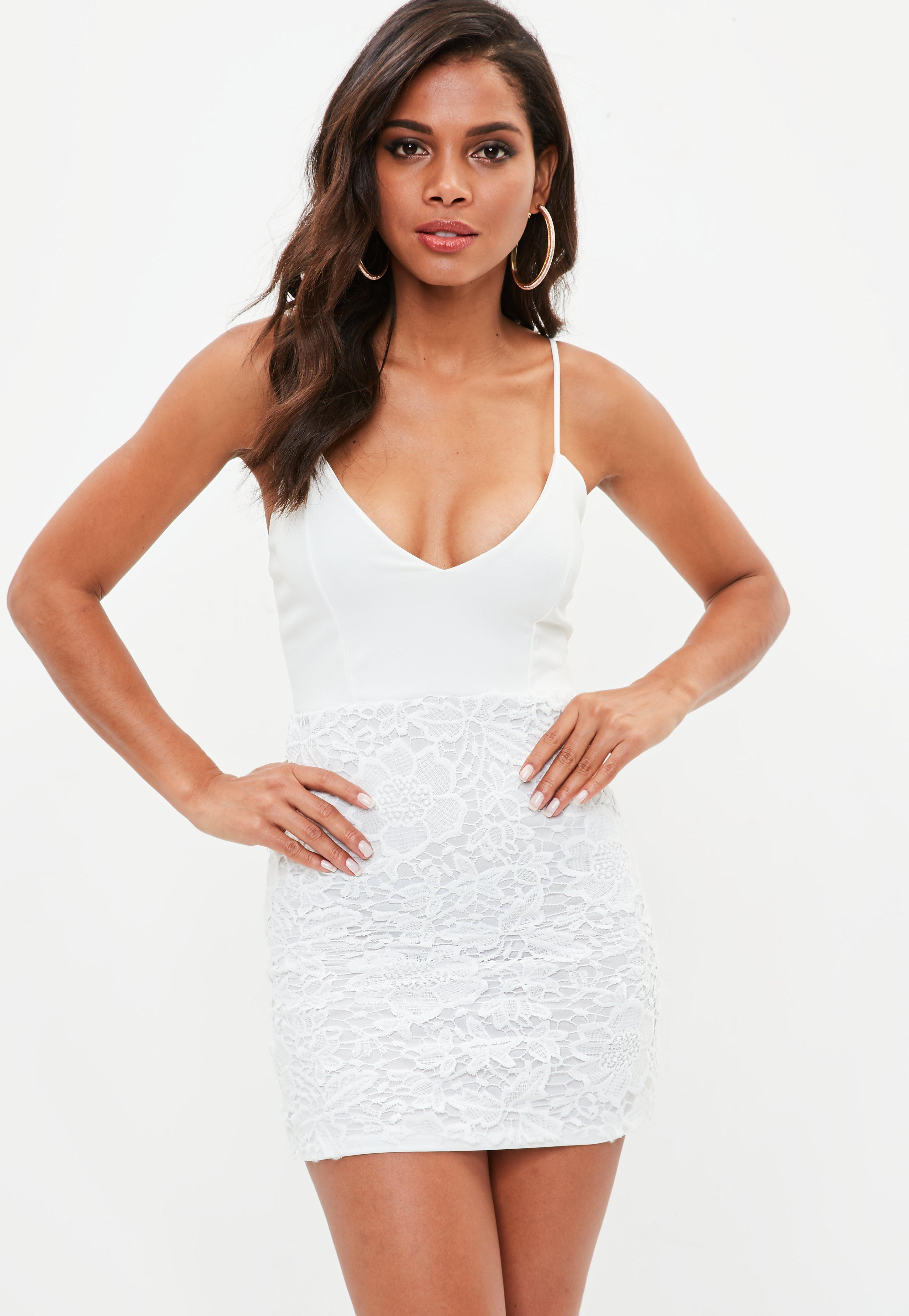 8f42b4ab88 Lyst - Missguided White Strappy Plunge Lace Bodycon Dress in White
