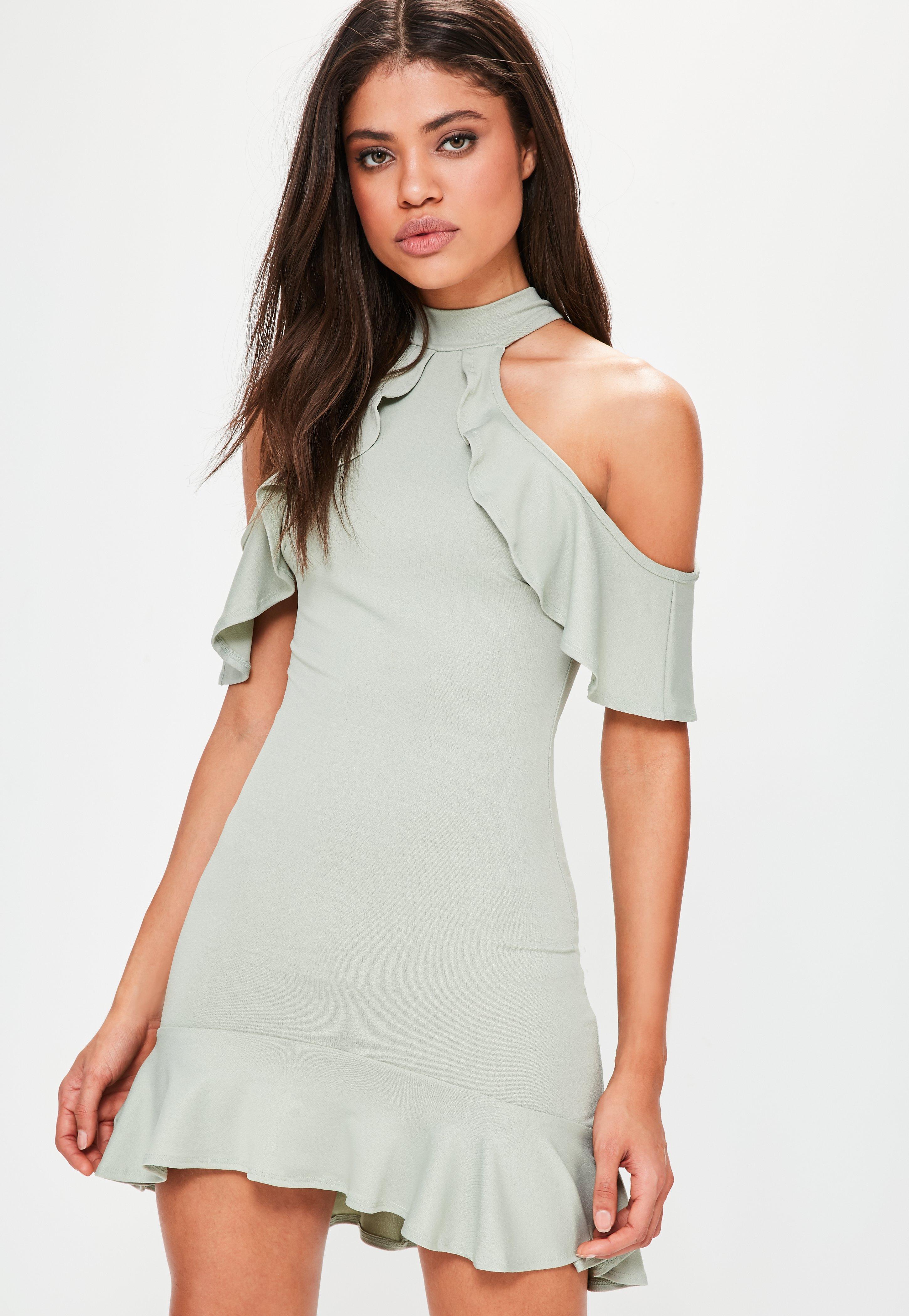 Green and White Mini Dress