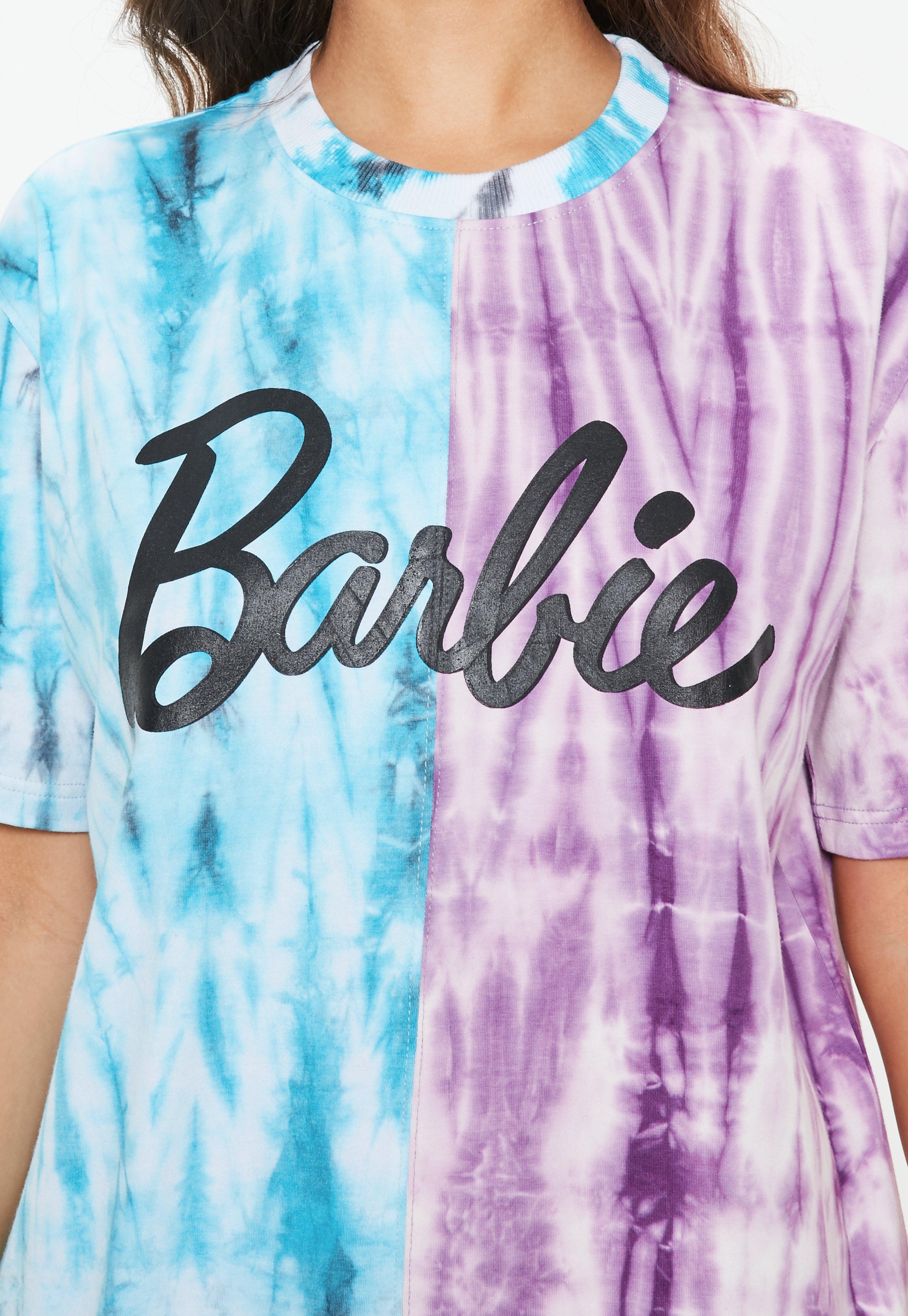 lyst missguided barbie x purple blue colour block tie dye t shirt