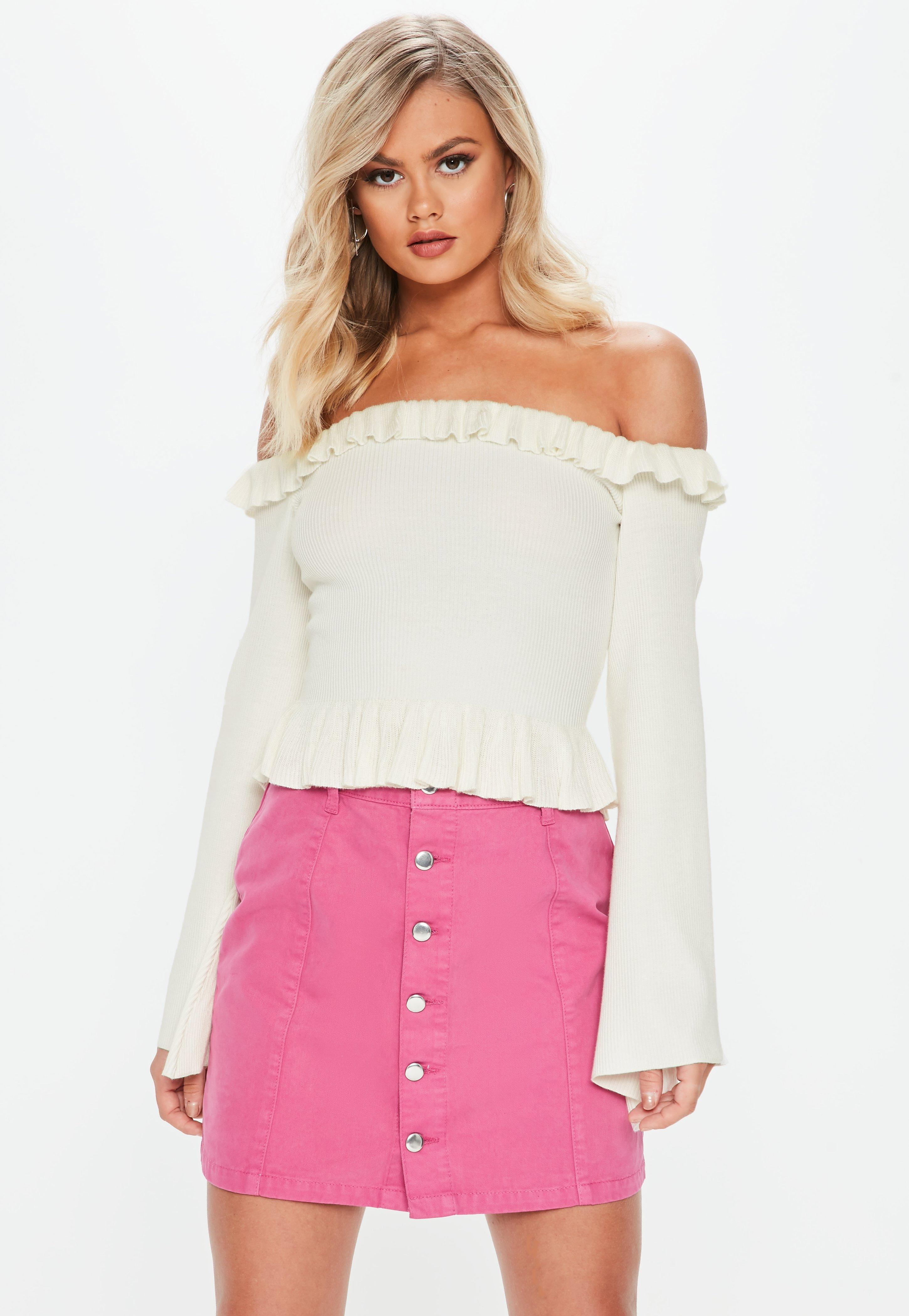 d59662dbd5e05 Lyst - Missguided White Frill Bardot Flare Sleeve Knitted Crop in White