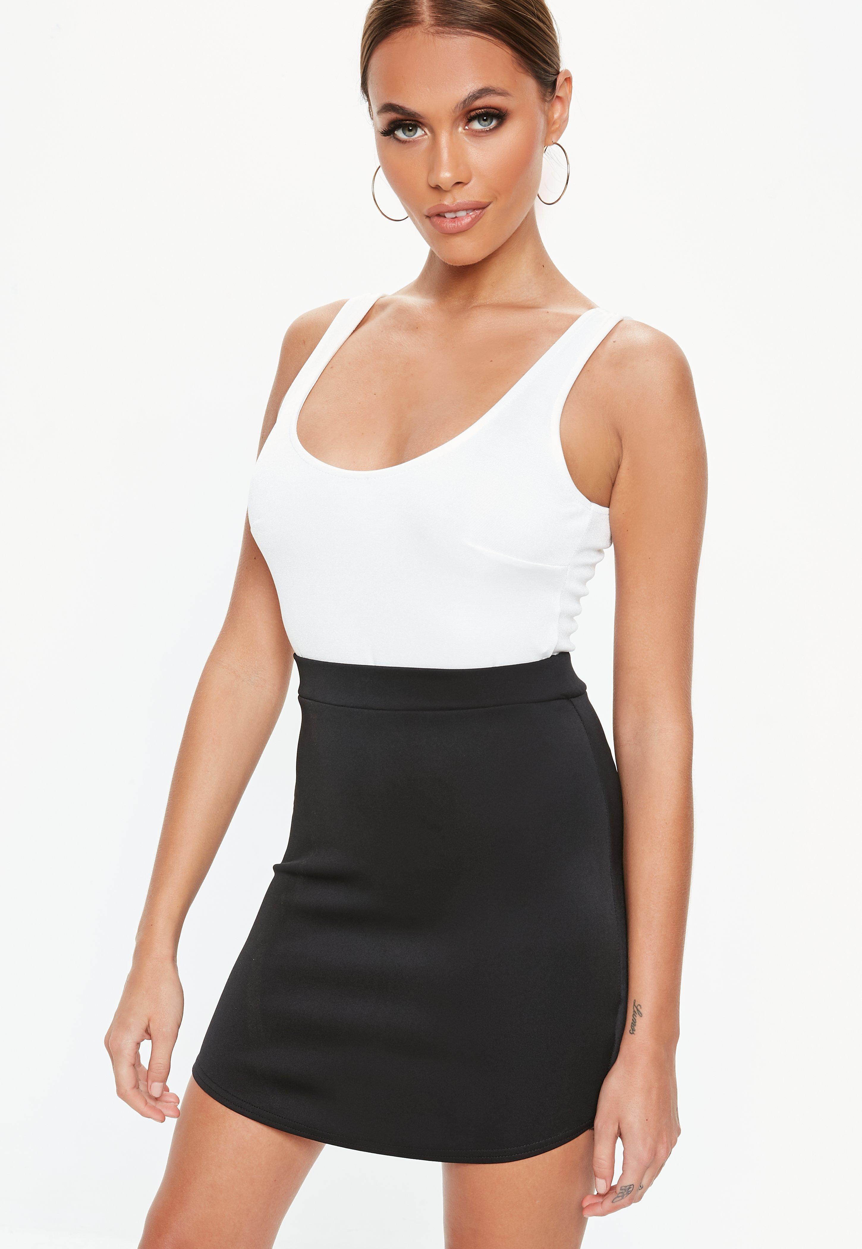 d8d186f38bb Lyst - Missguided Black Curve Hem Mini Skirt in Black