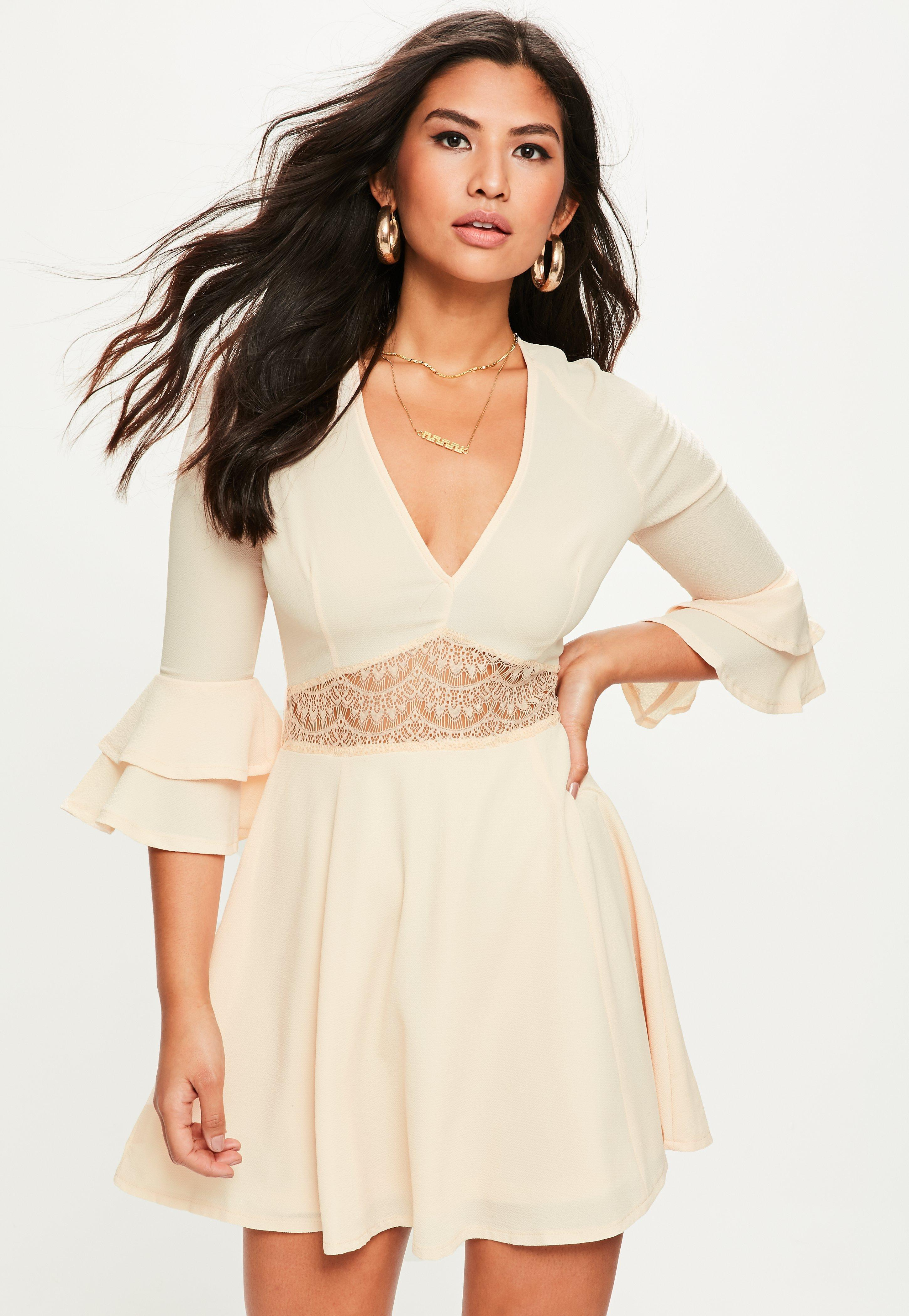 Missguided Nude Cropped Sleeve Lace Waist Skater Dress in Natural - Lyst 665016341