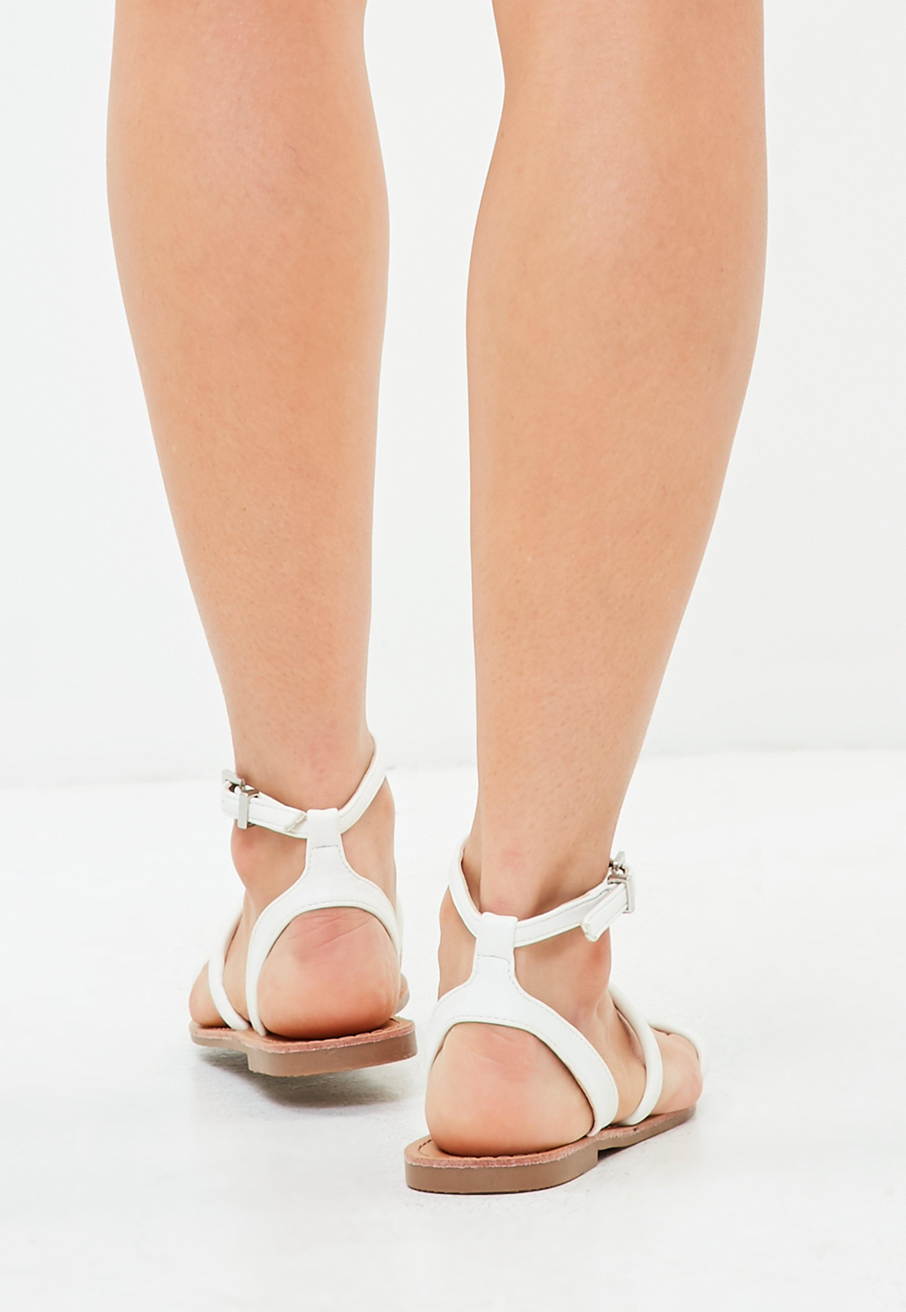 cc12f22d6e1 Missguided White Rounded 3 Strap Flat Sandals in White - Lyst