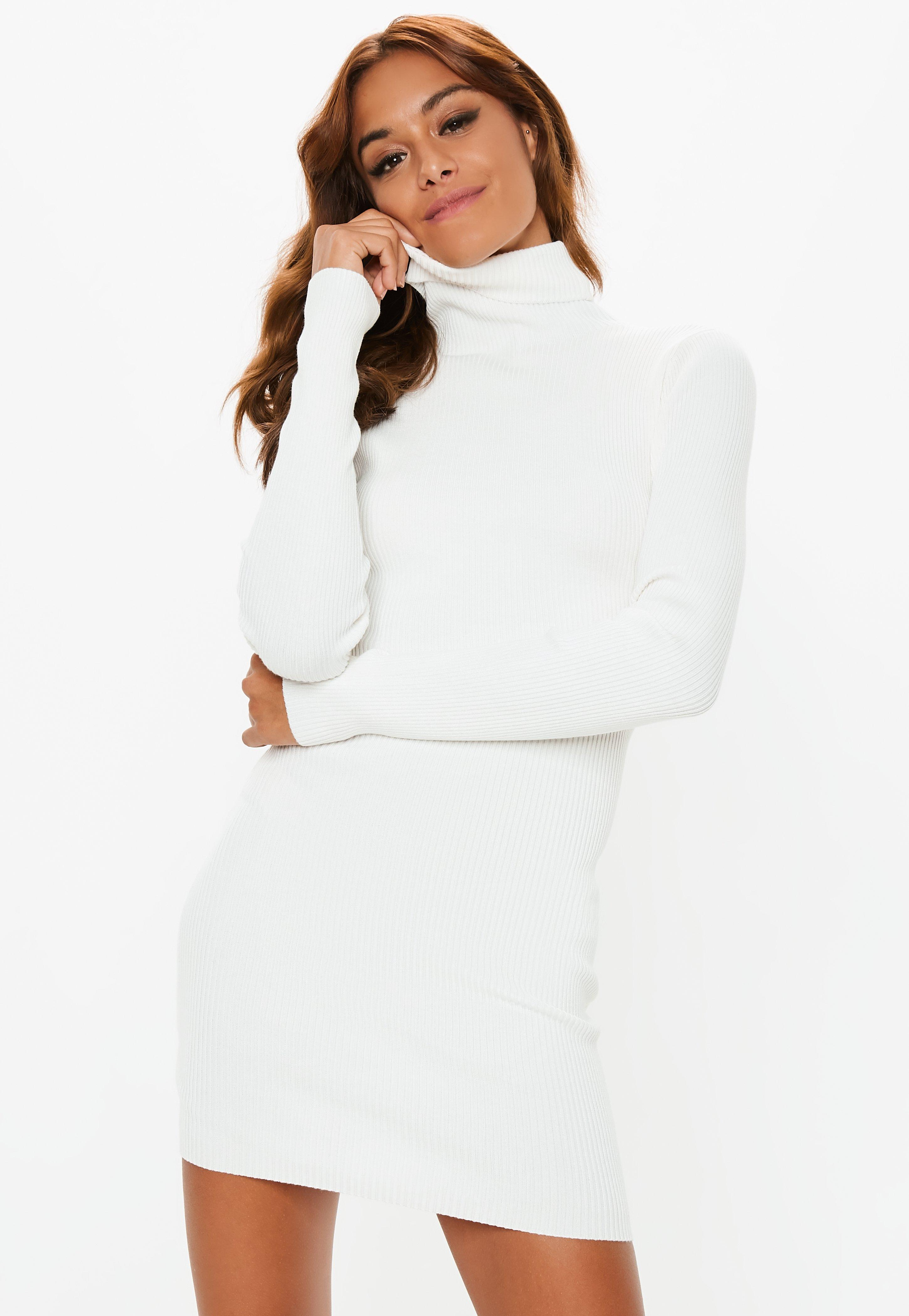 908c05b6b16129 Lyst - Missguided White Roll Neck Ribbed Knitted Mini Dress in White ...