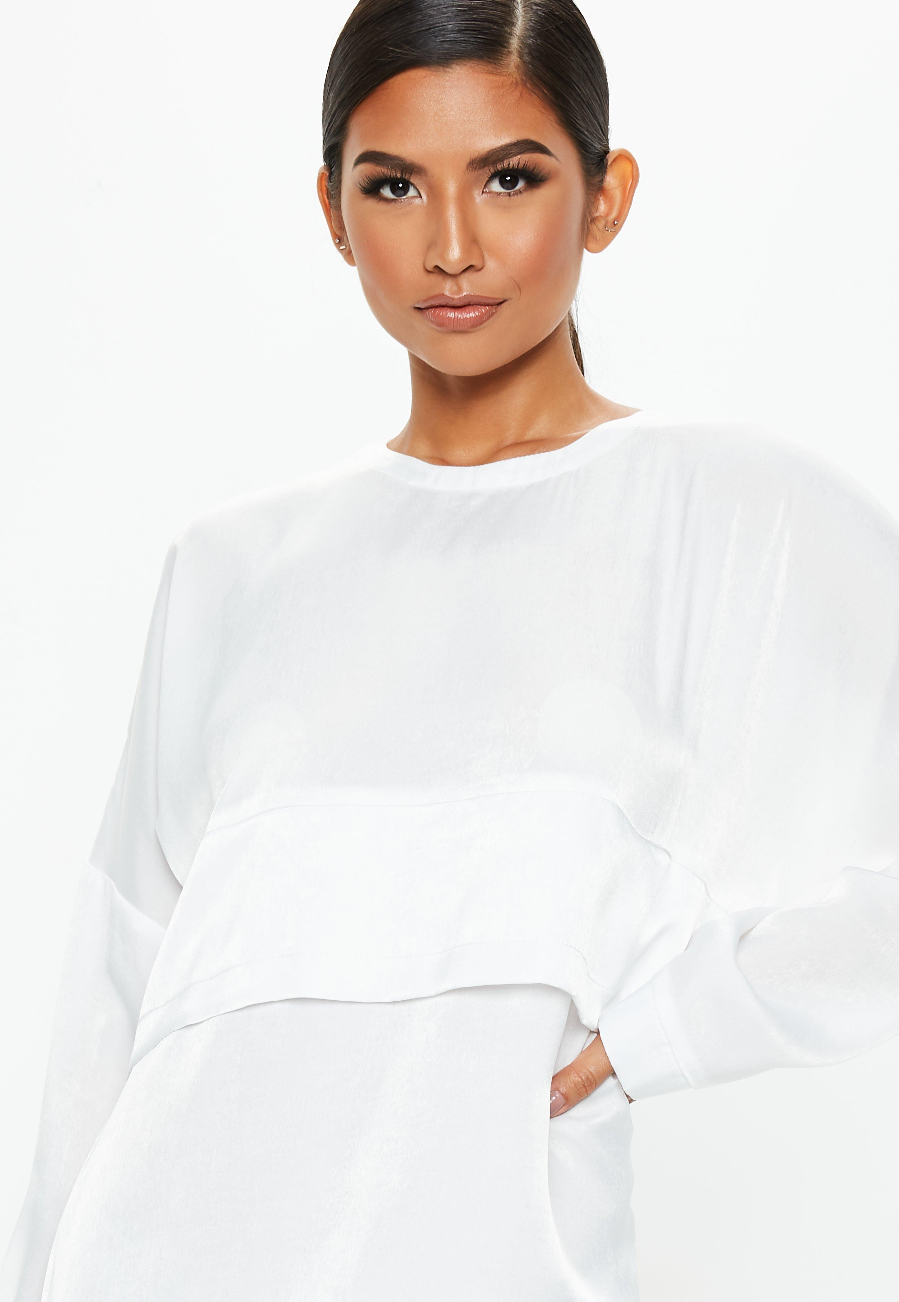 55bcffb5f11 Missguided - White Oversized Satin Overlay Dress - Lyst. View fullscreen