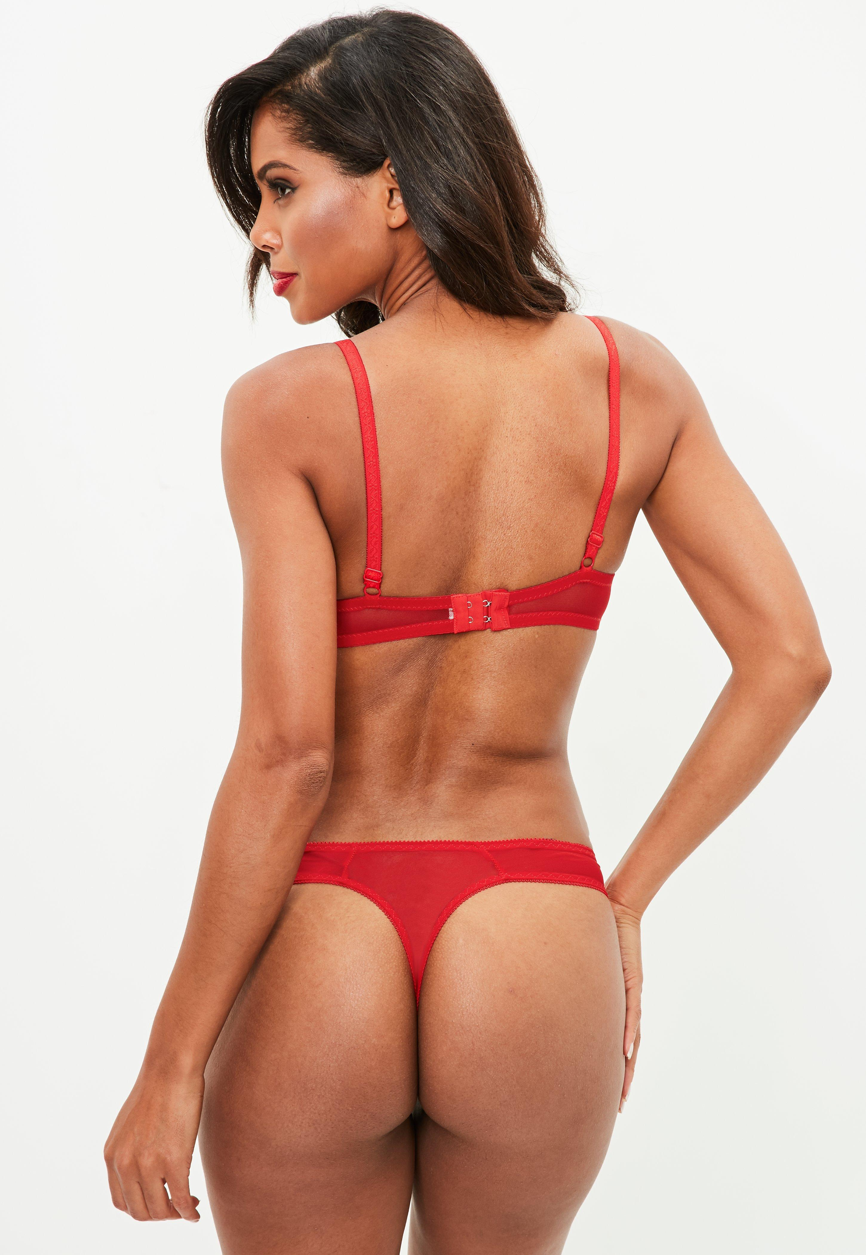Missguided Red Chiffon Pleat Lace Push Up Bra And Thong Set in Red ... 4c72a6dbd