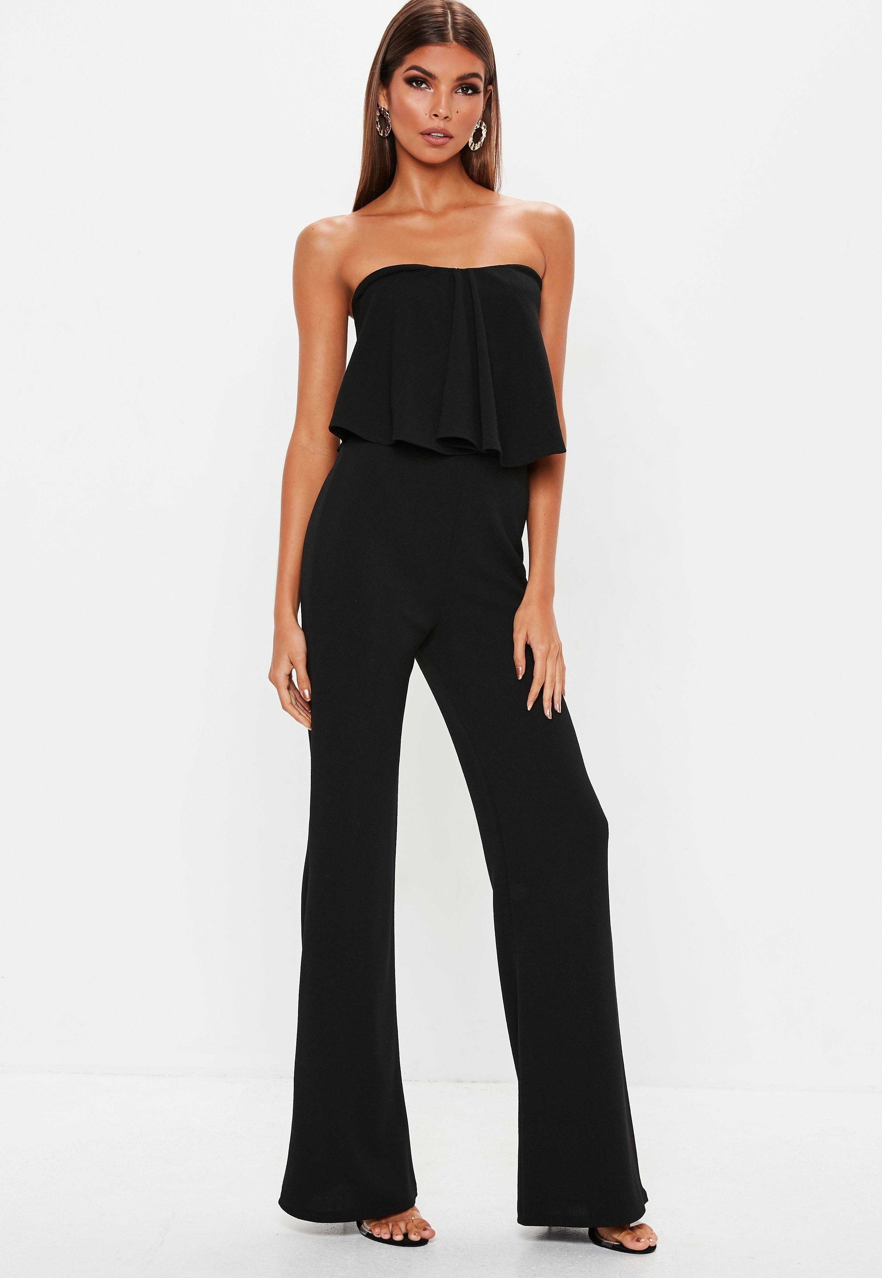 b3f455017bc Lyst - Missguided Black Bandeau Frill Wide Leg Jumpsuit in Black ...