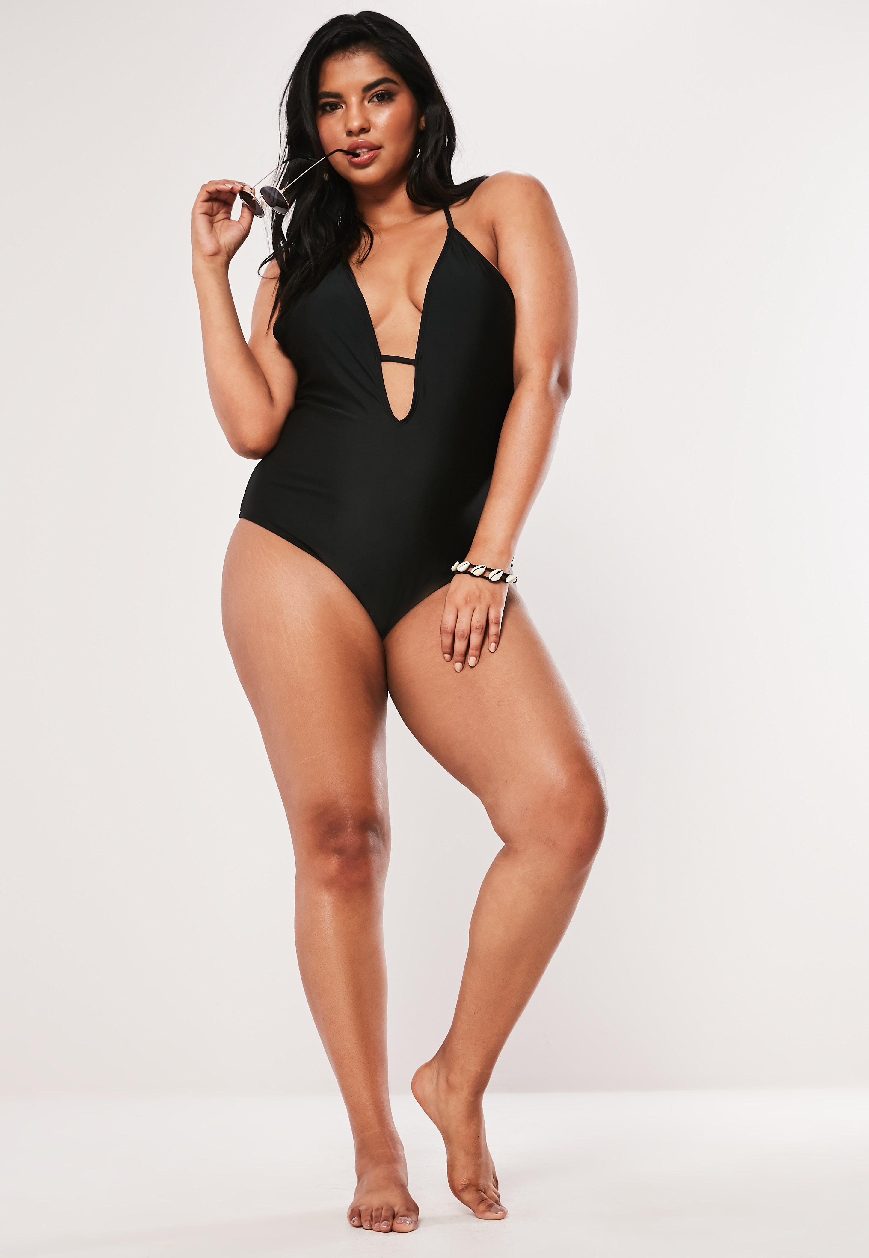 04d752b07b Lyst - Missguided Plus Size Black T Bar Halterneck Swimsuit in Black