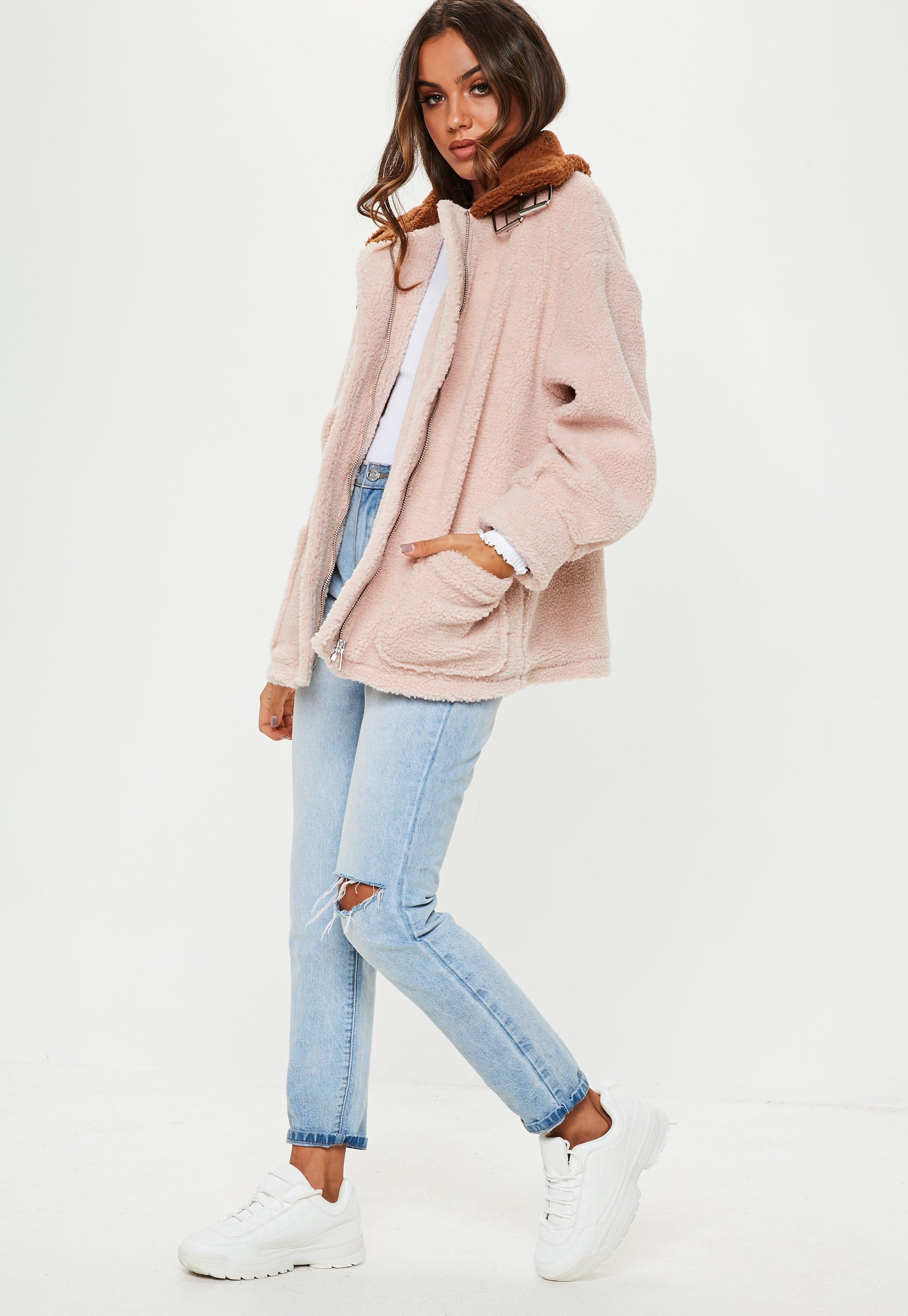 b1657f03ec3 Missguided Stone Borg Aviator Jacket With Contrast Collar - Lyst
