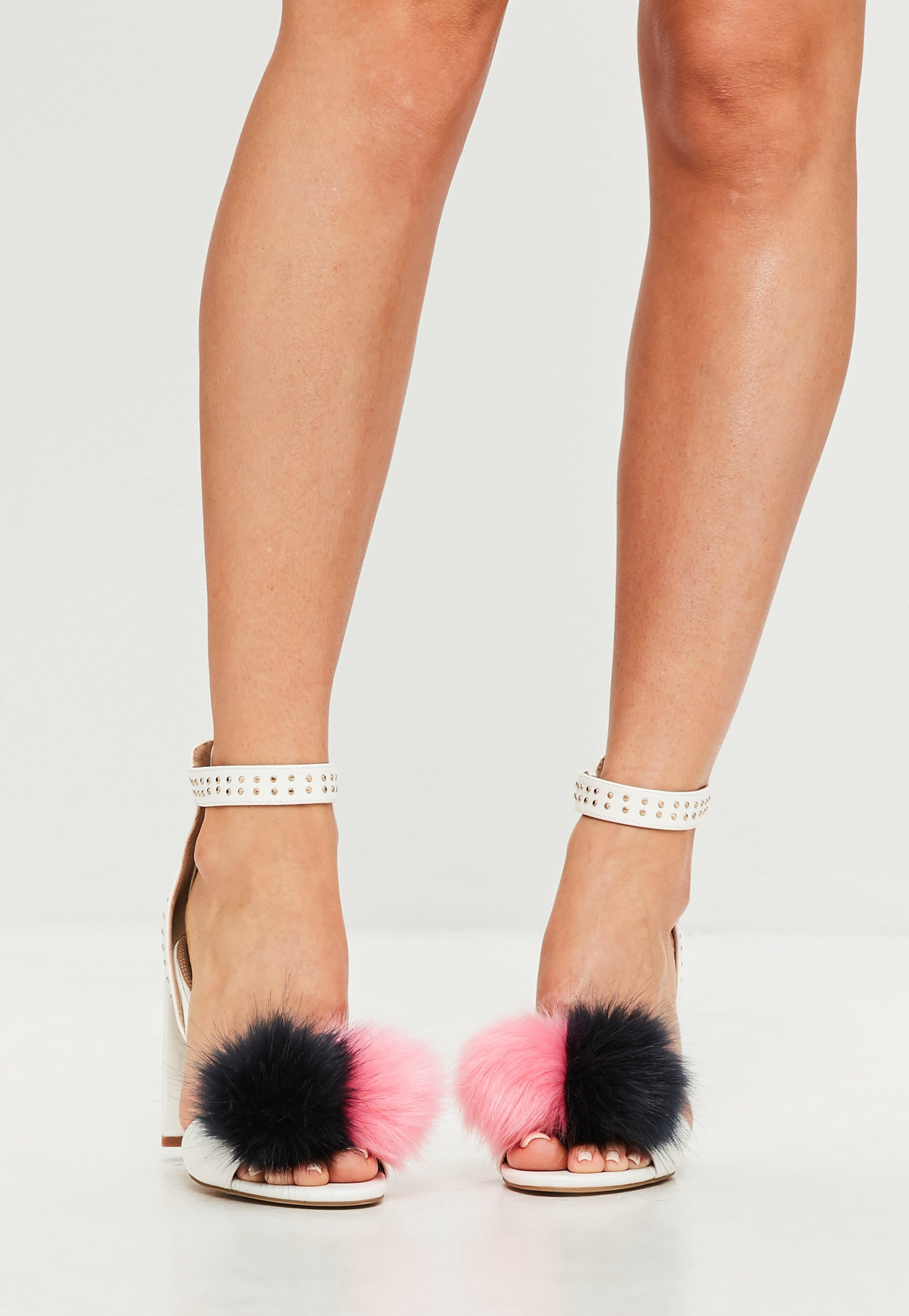 8031e7efd8f9 Lyst - Missguided White Pom Pom Block Heeled Sandals in White