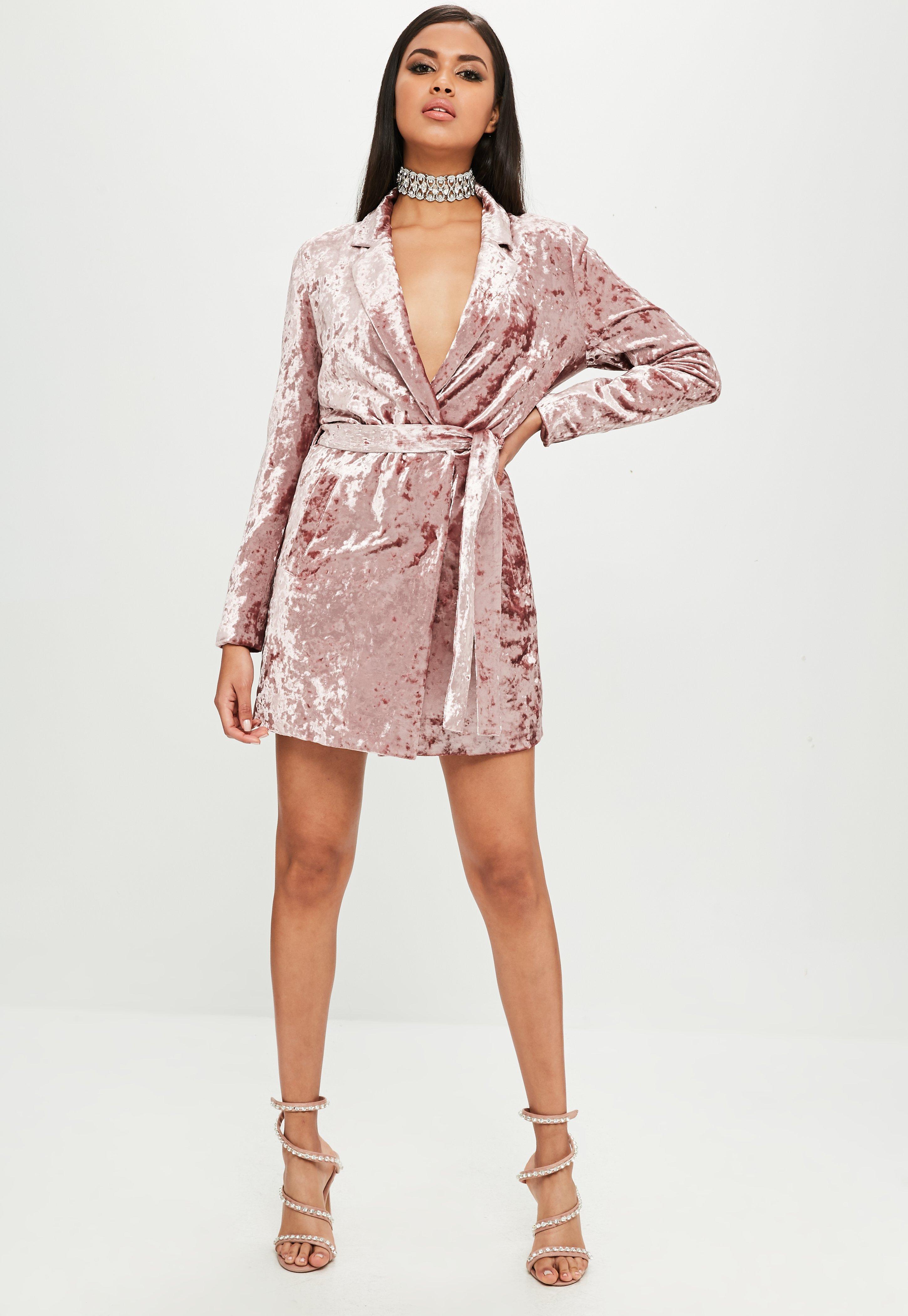 0e46149b6eea Missguided - Carli Bybel X Pink Crushed Velvet Wrap Dress - Lyst. View  fullscreen