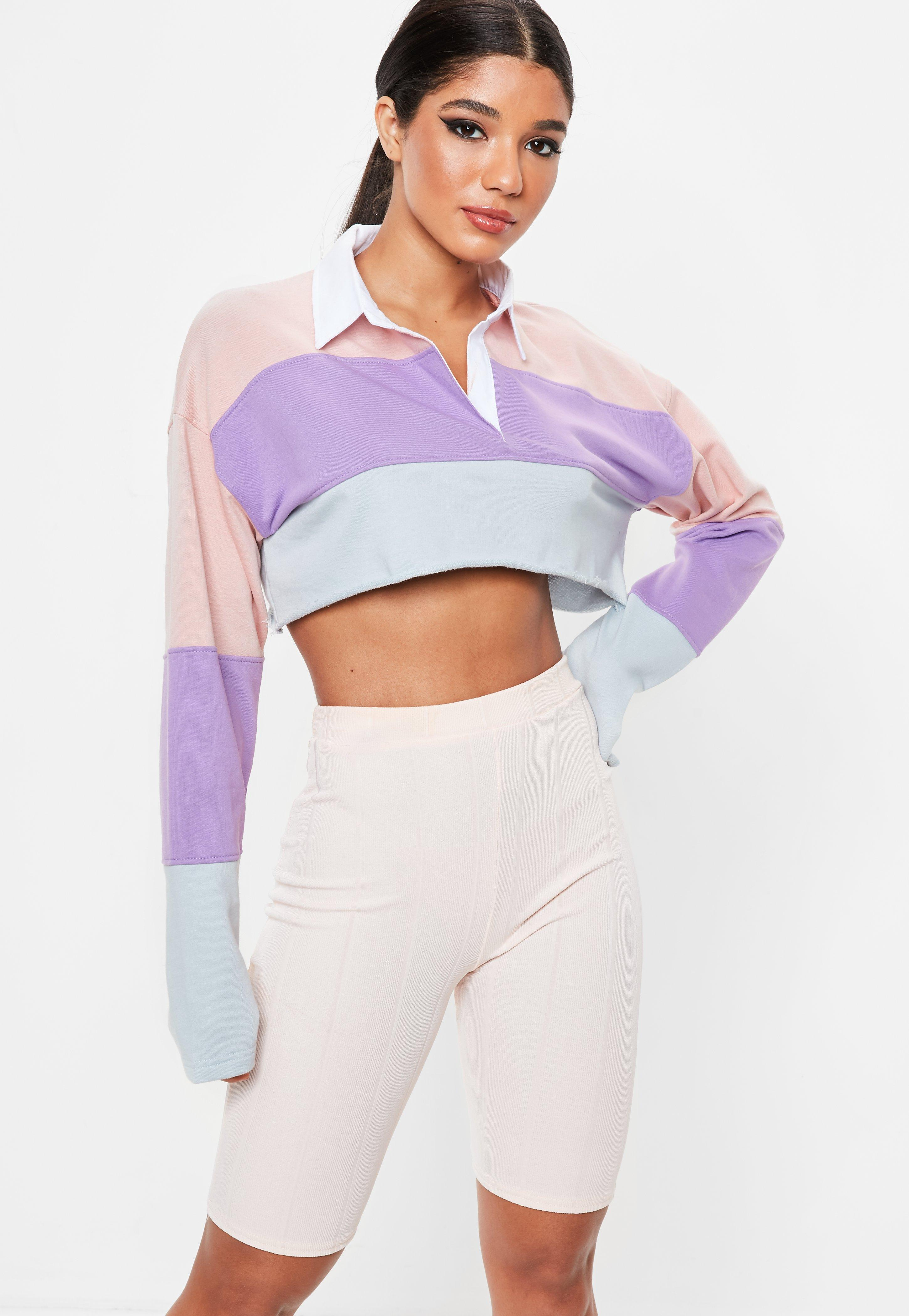 68dd3101ad807 Lyst - Missguided Pink Colour Block Boxy Rugby Crop Top in Pink