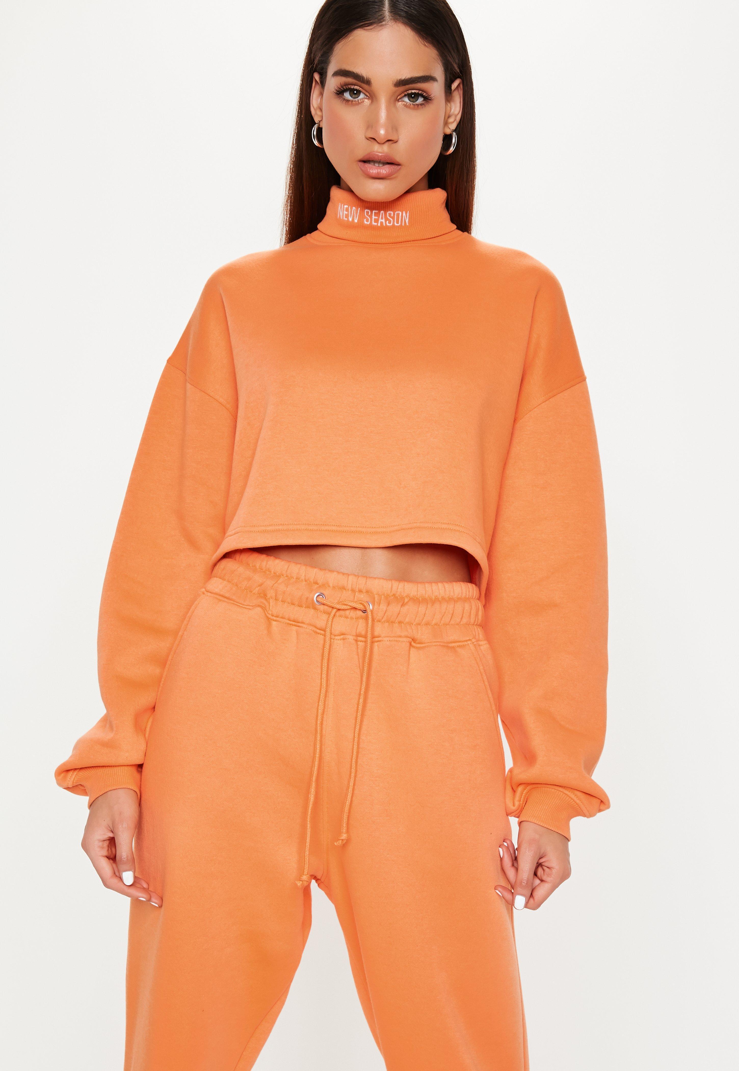 Missguided Neon Orange New Season Roll Neck Sweatshirt in Orange - Lyst
