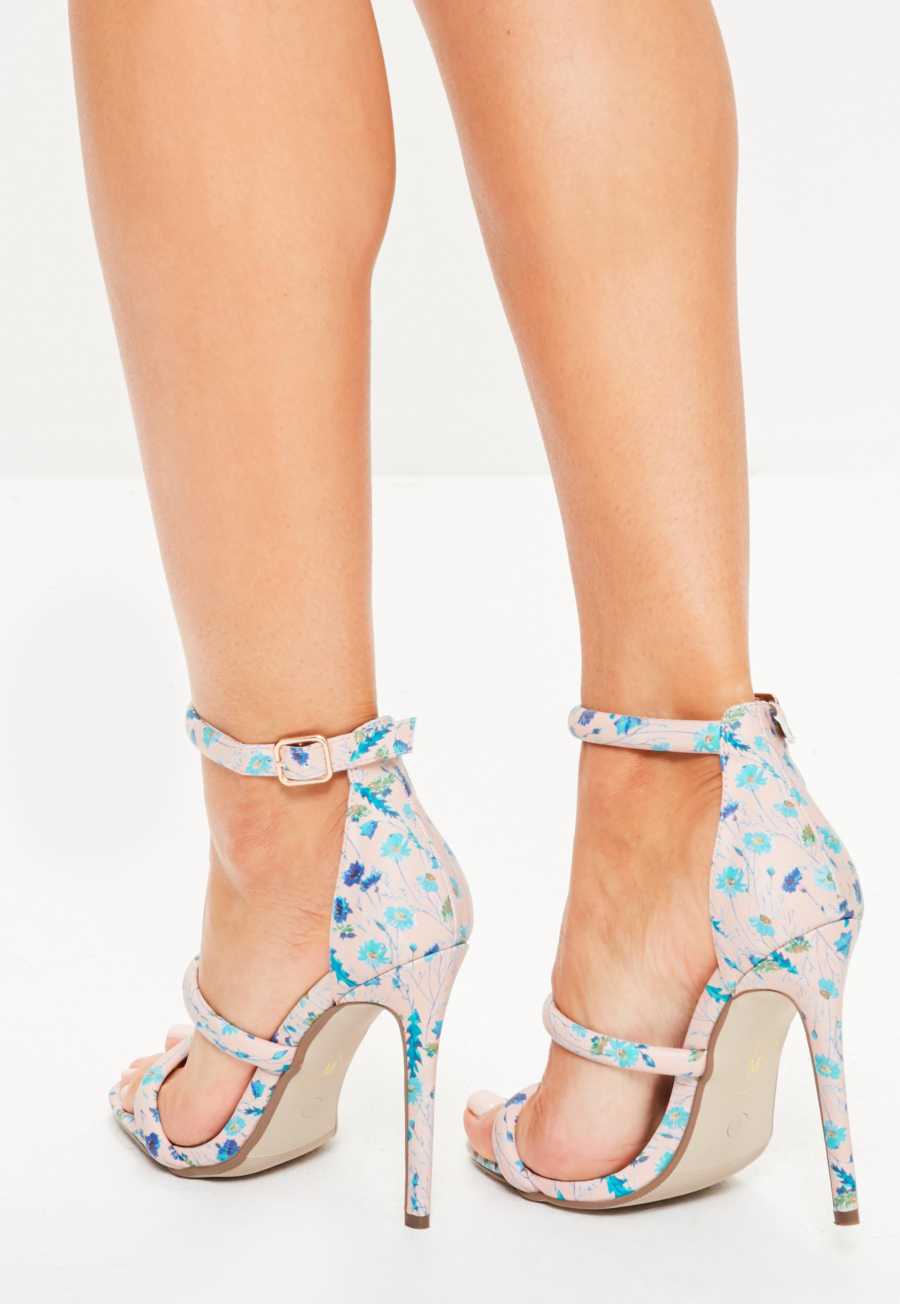 73b41fc85a8 Missguided Nude Ditsy Floral Three Strap Sandals in Natural - Lyst