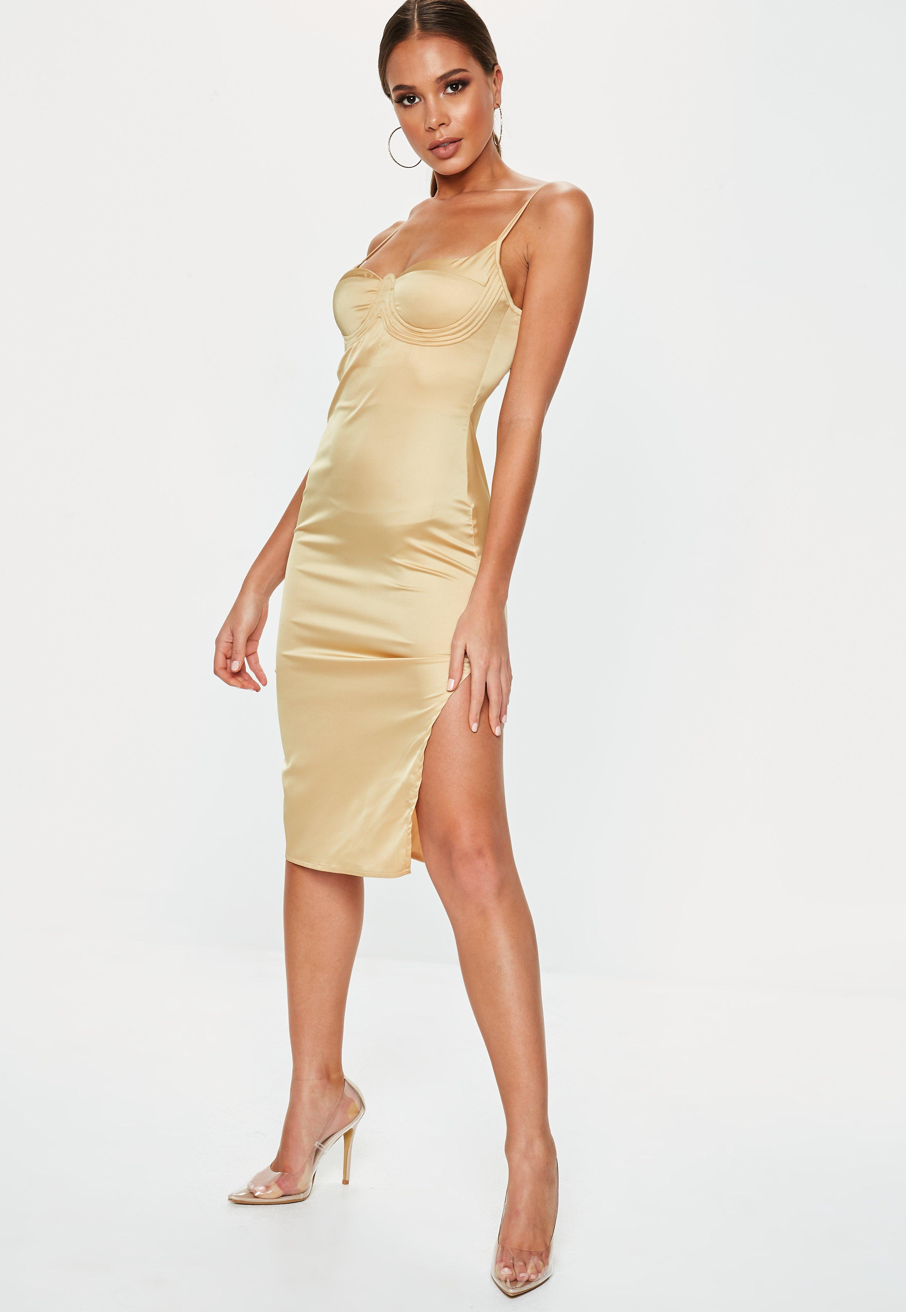 bbb64585012 Missguided Gold Satin Bust Cup Midi Dress in Metallic - Save 15% - Lyst