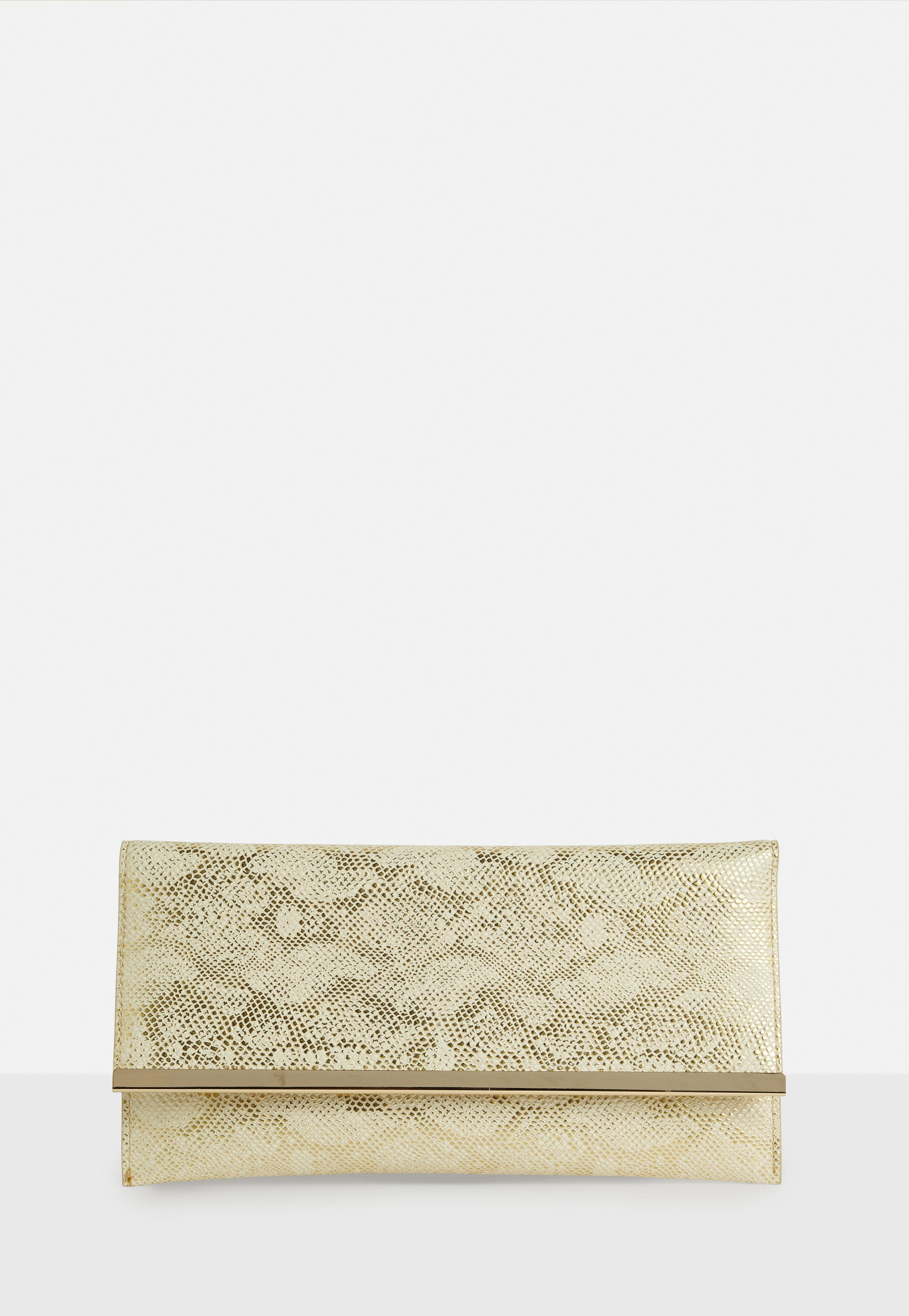 Lyst - Missguided Gold Faux Leather Metal Trim Clutch Bag in Metallic 7bf089f4b773d