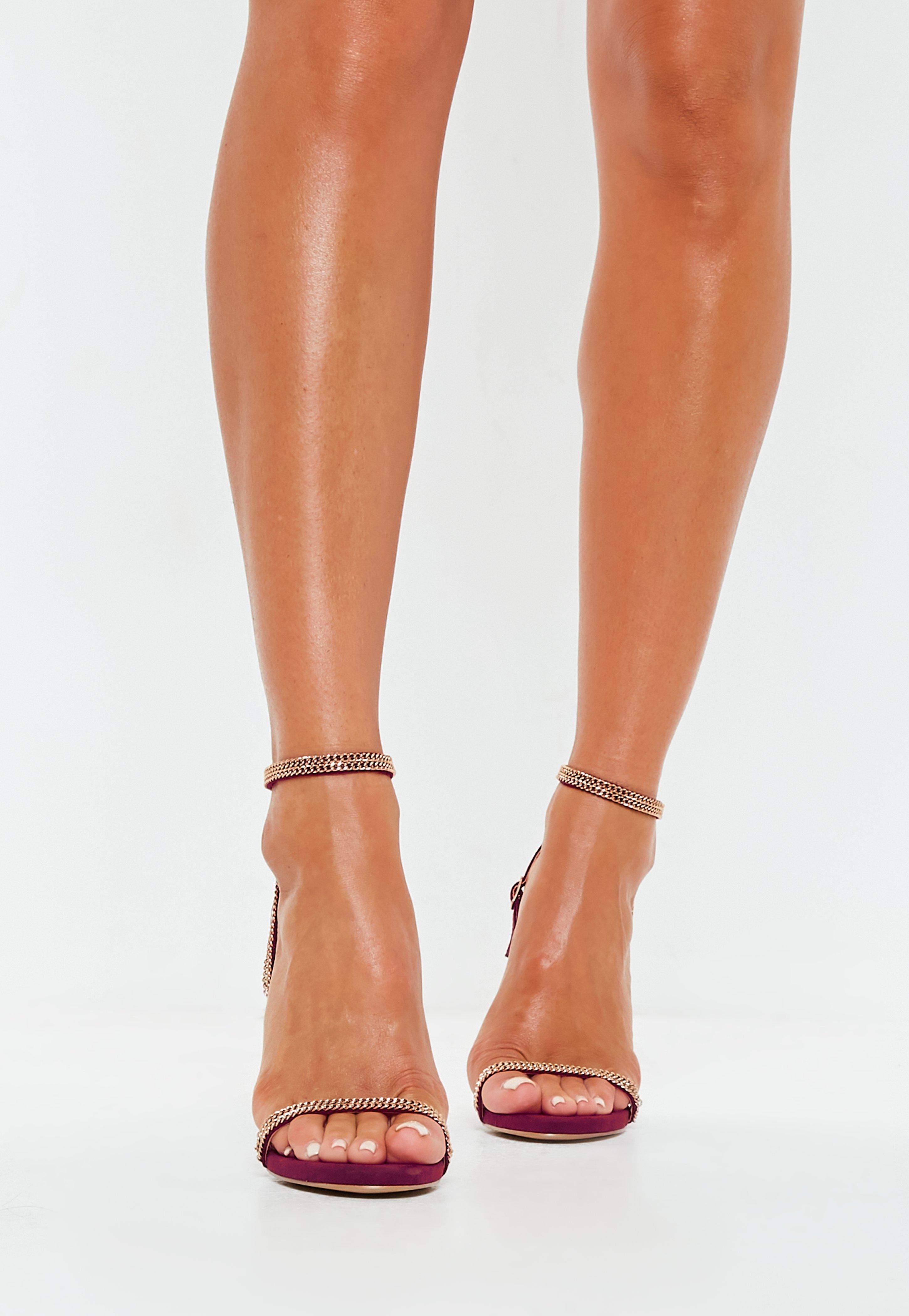 670a8edf537 Missguided Burgundy Chain Trim Barely There Heels - Lyst