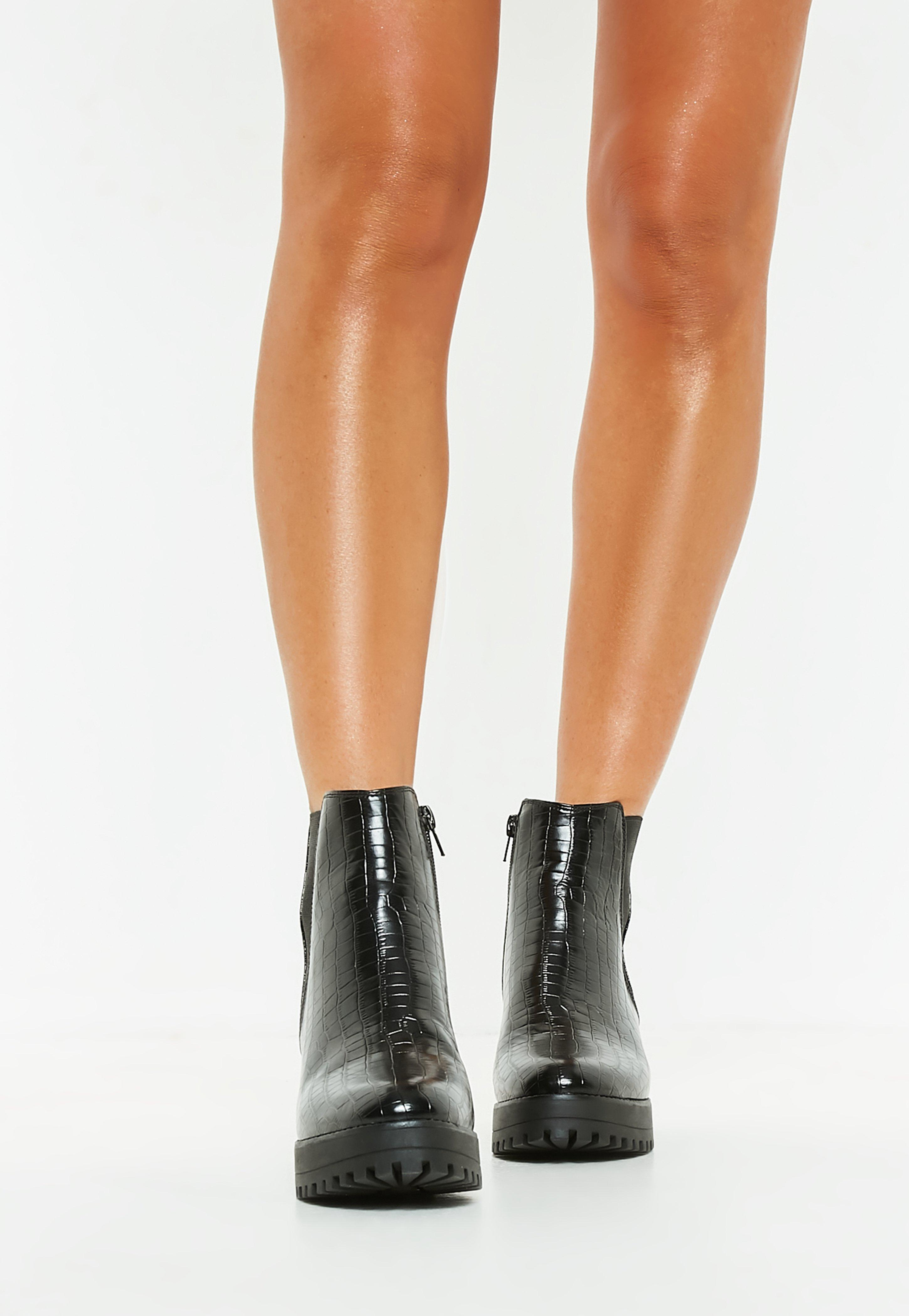 b2ff0afc79b6 Missguided - Black Croc Chunky Chelsea Ankle Boot - Lyst. View fullscreen