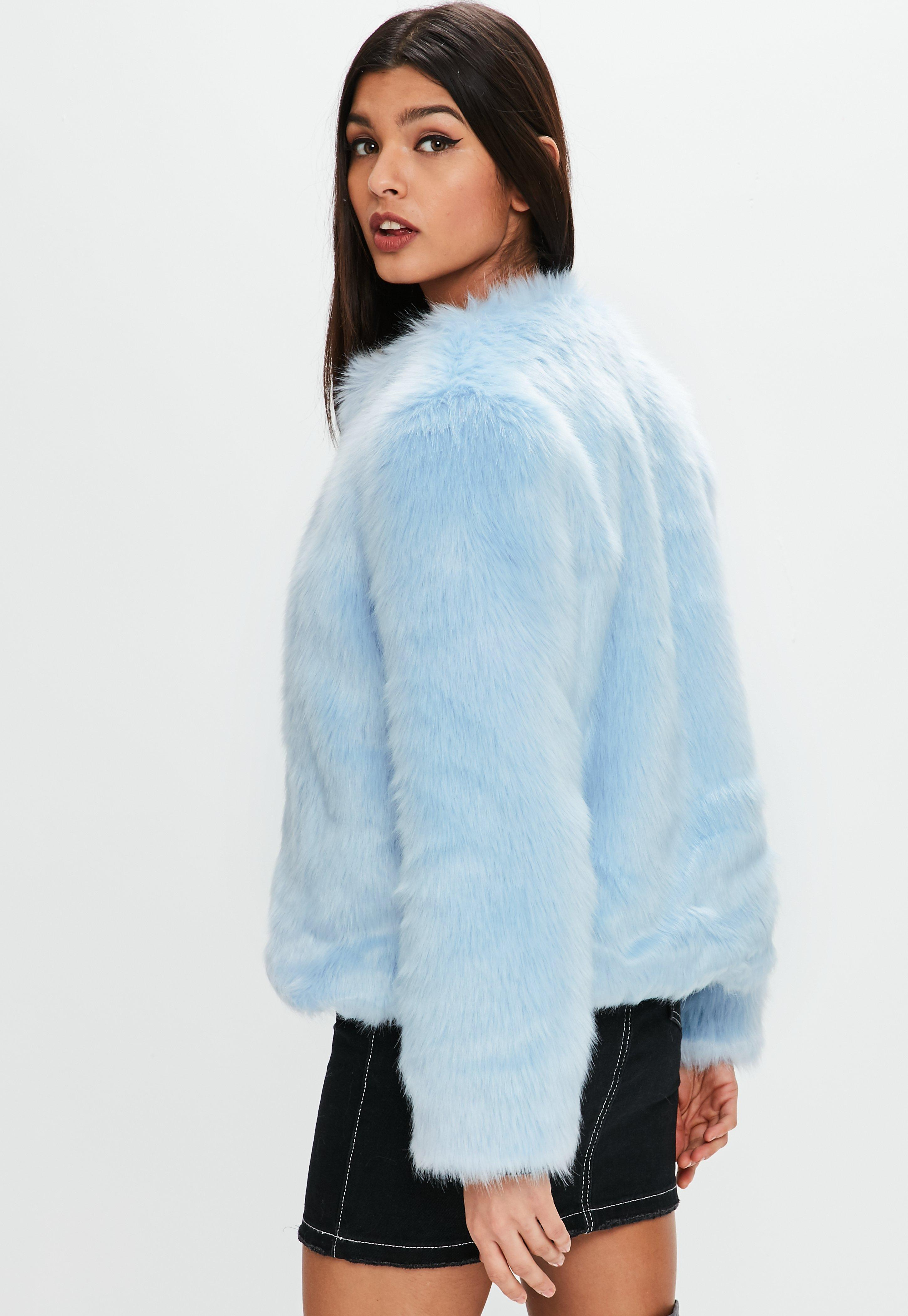bc3dba25e59 Missguided Light Blue Collarless Faux Fur Coat in Blue - Lyst