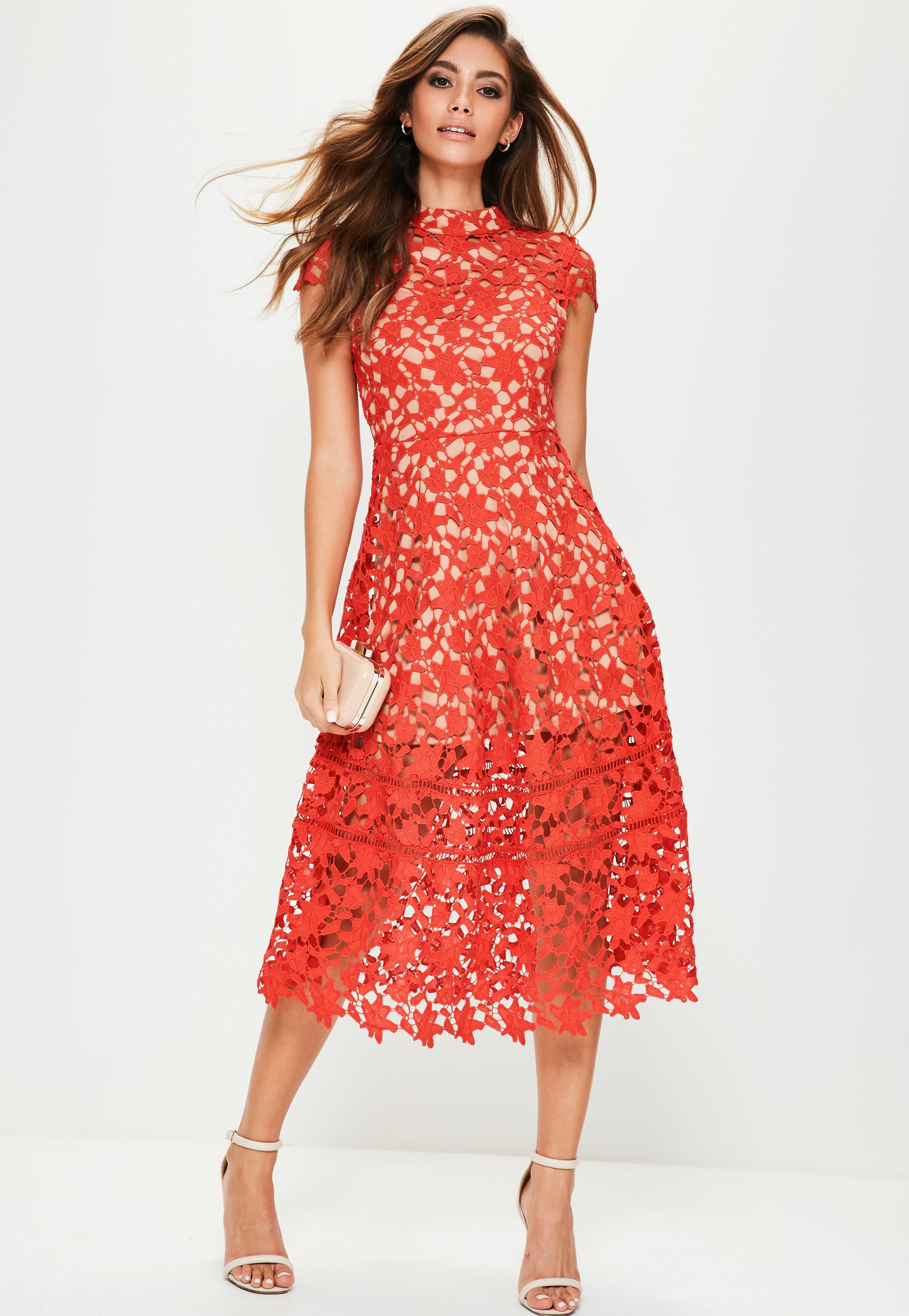 27eee71a8037 Lyst - Missguided Red Short Sleeve Lace Midi Skater Dress in Red