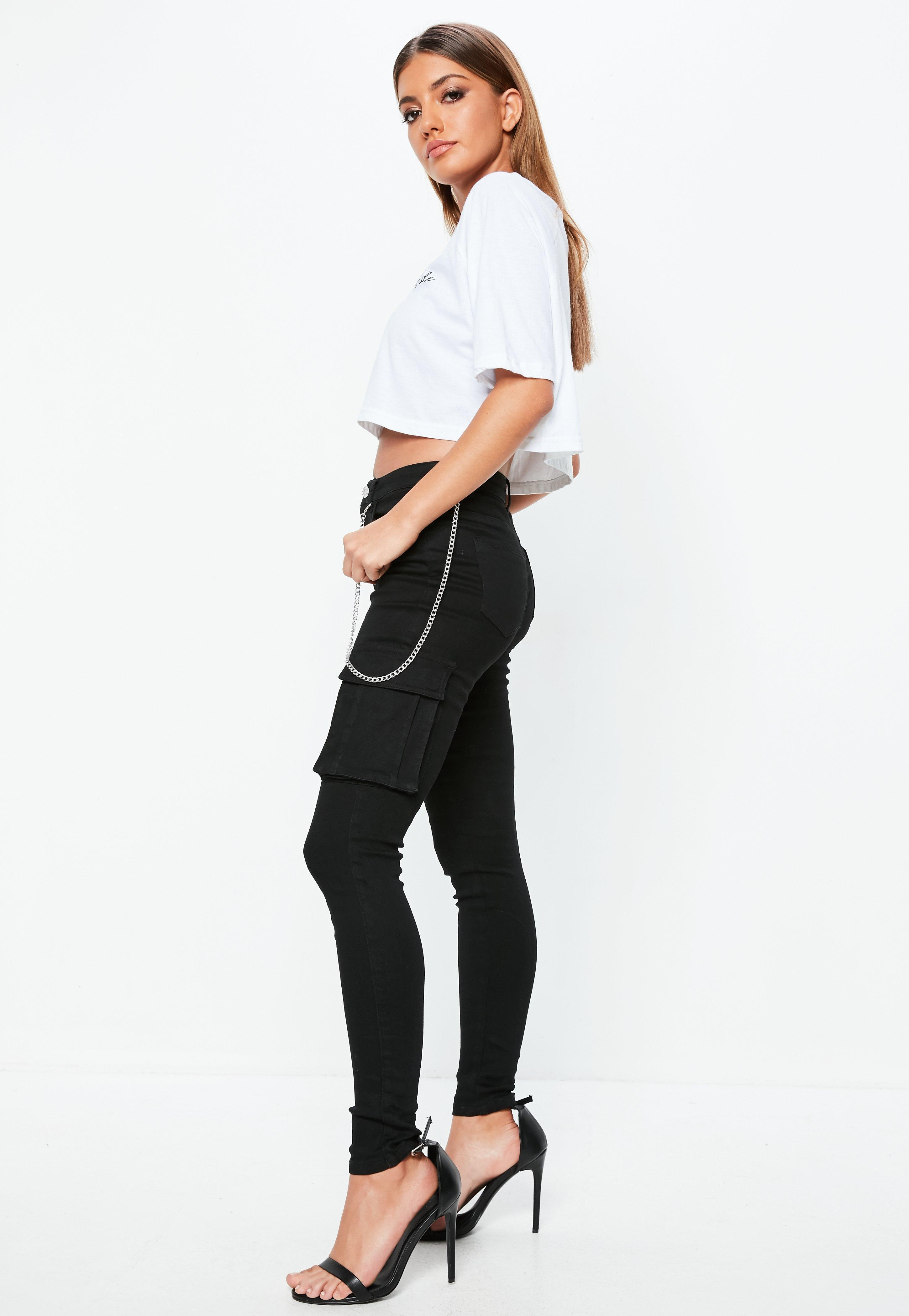 Missguided Black Sinner Highwaisted Combat Chain Jeans in Black - Lyst 3a7bbb40cccf