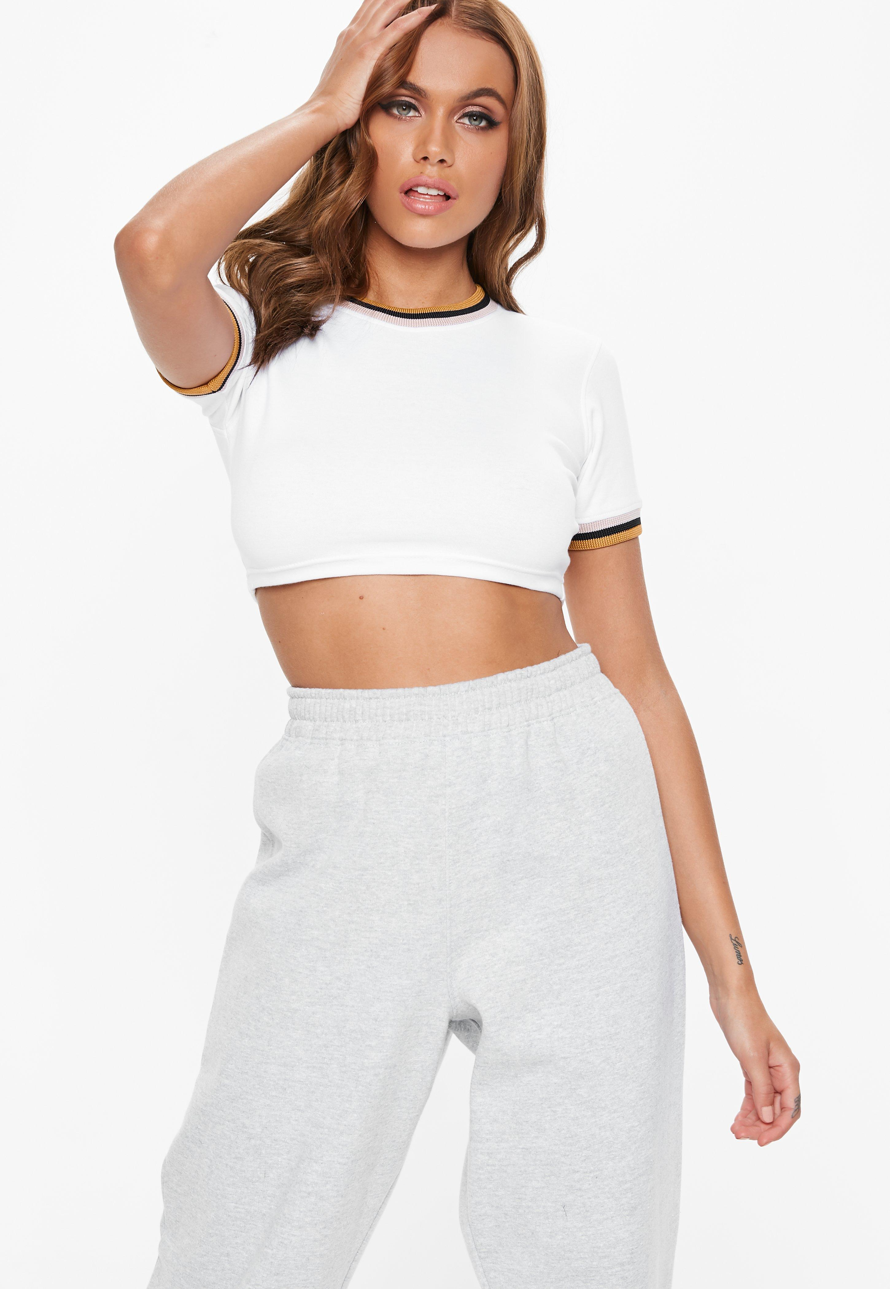 a2bc26388de7b3 Lyst - Missguided Petite White Contrast Ringer Crop Tee in White