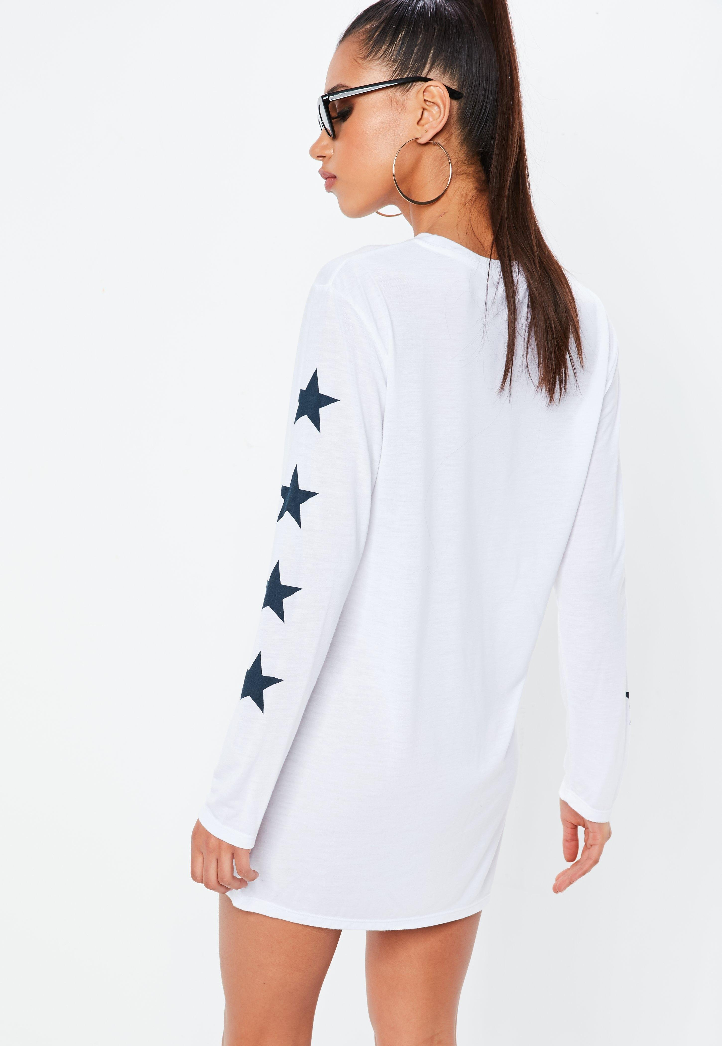 075cf9262110 Lyst - Missguided White Oversized Long Sleeve Brooklyn Slogan T ...