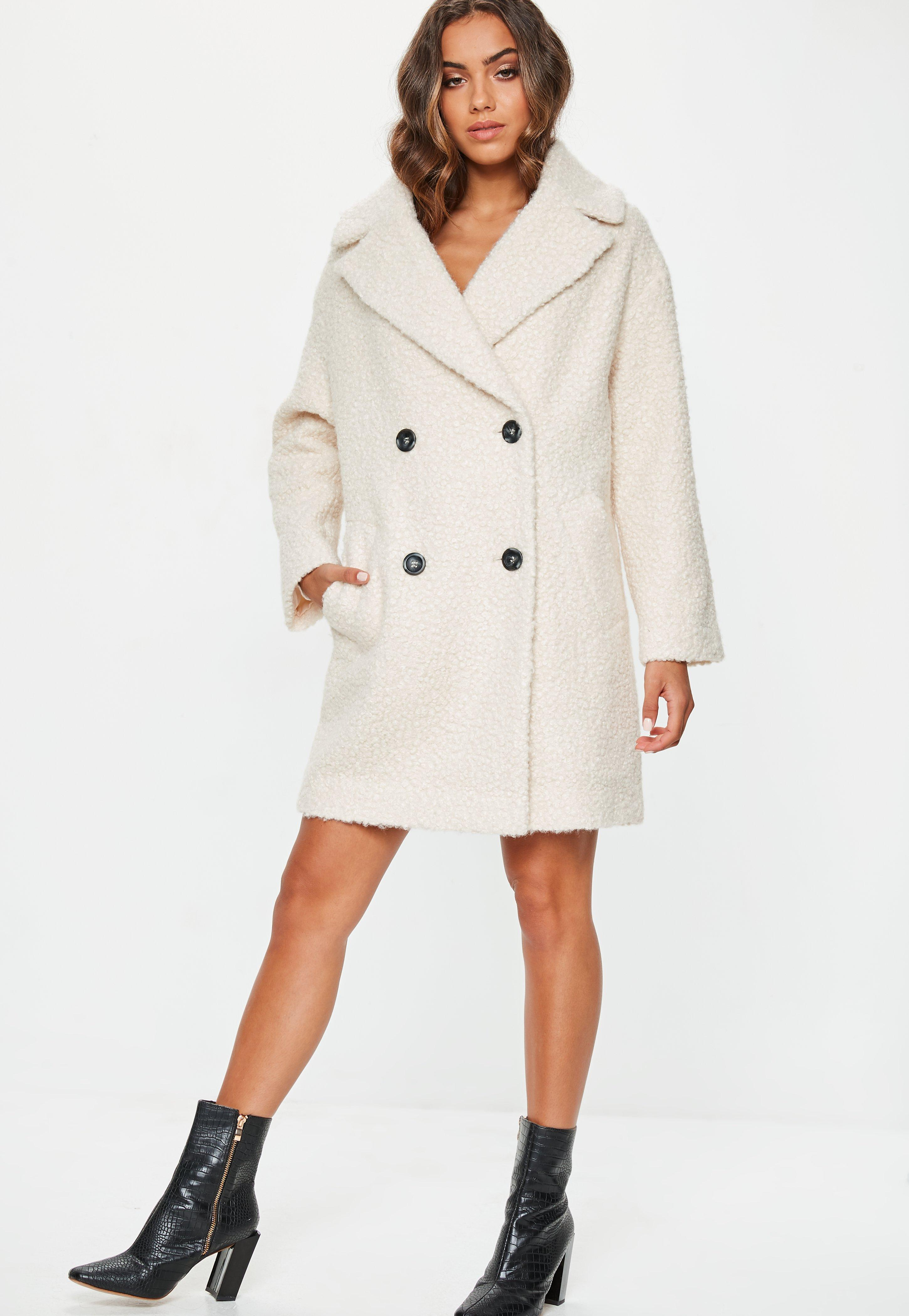 263afcdf3be48 Lyst - Missguided Cream Oversized Boucle Coat in Natural