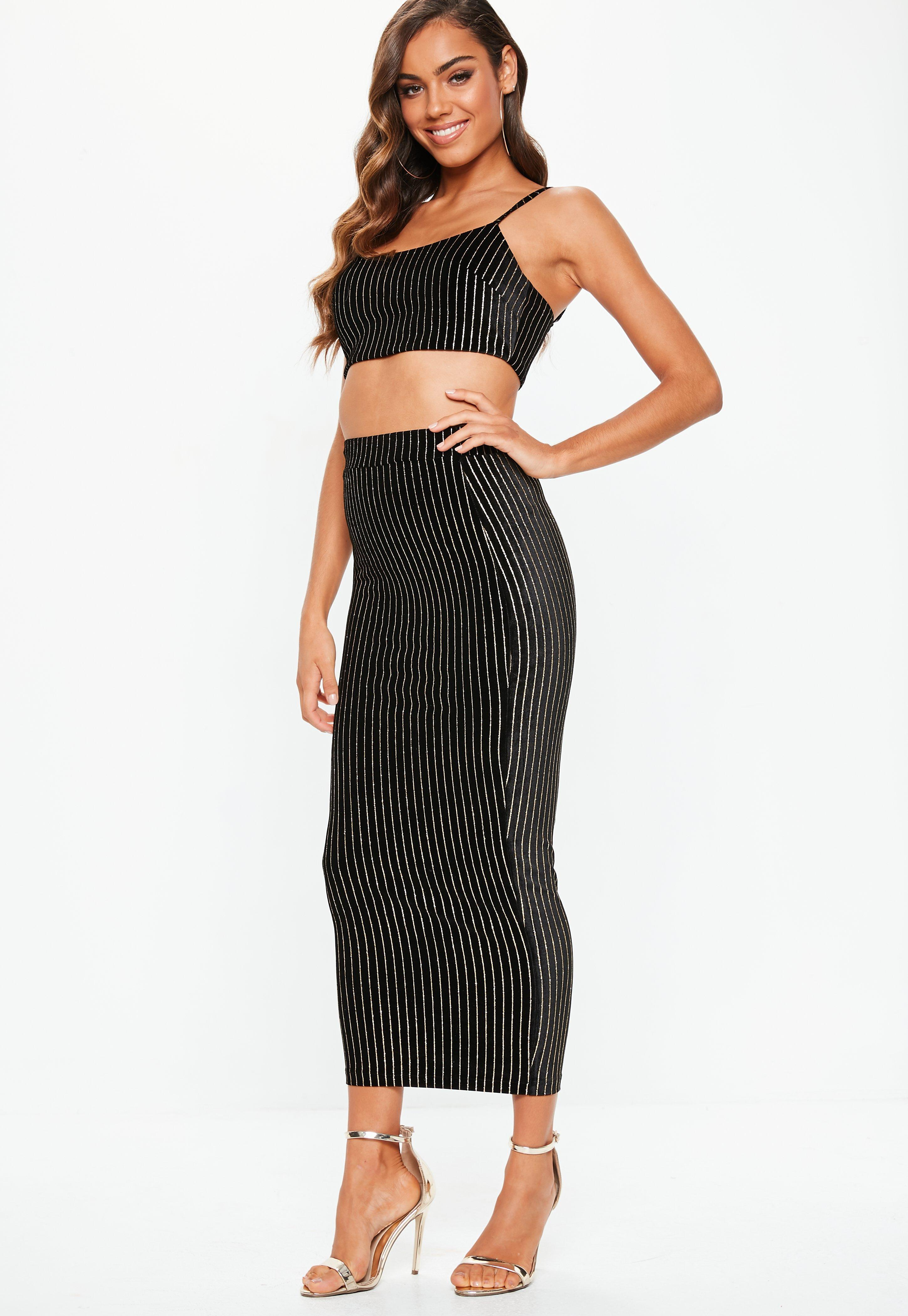 487ec3645edc92 Lyst - Missguided Black Velvet Glitter Stripe Cami Crop And Midi Co ...