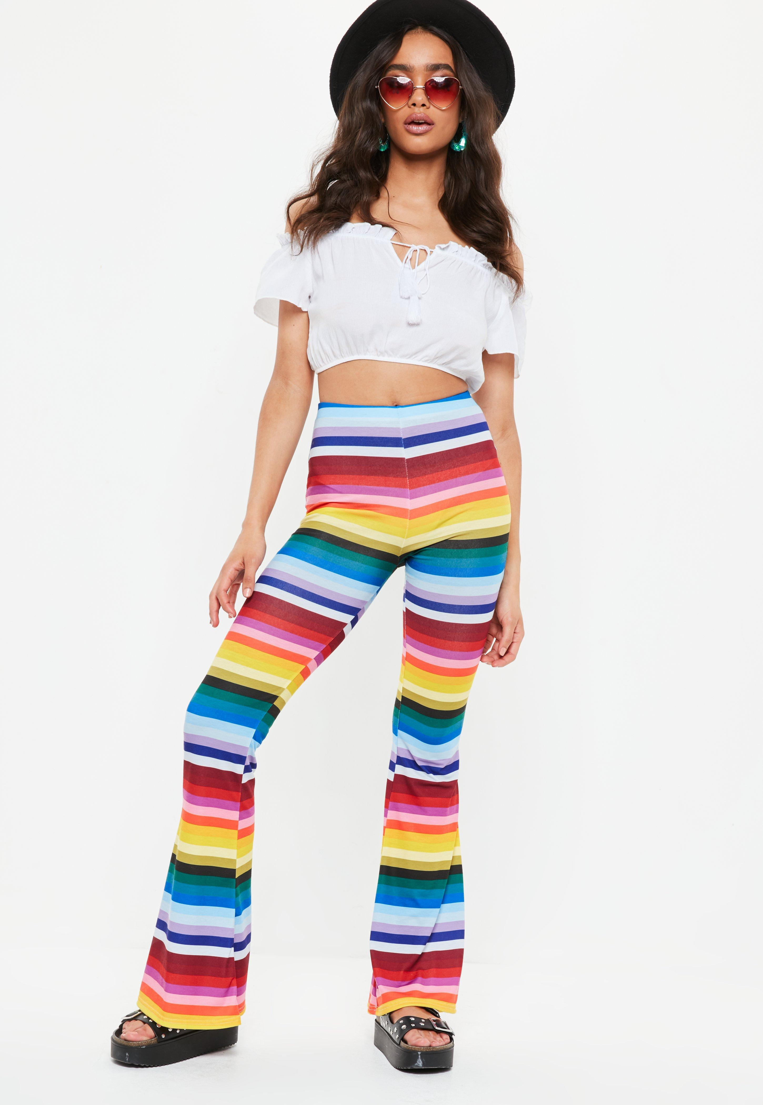 2edd5eb2355b2b Missguided Yellow Rainbow Stripe Flare Trousers in Yellow - Lyst