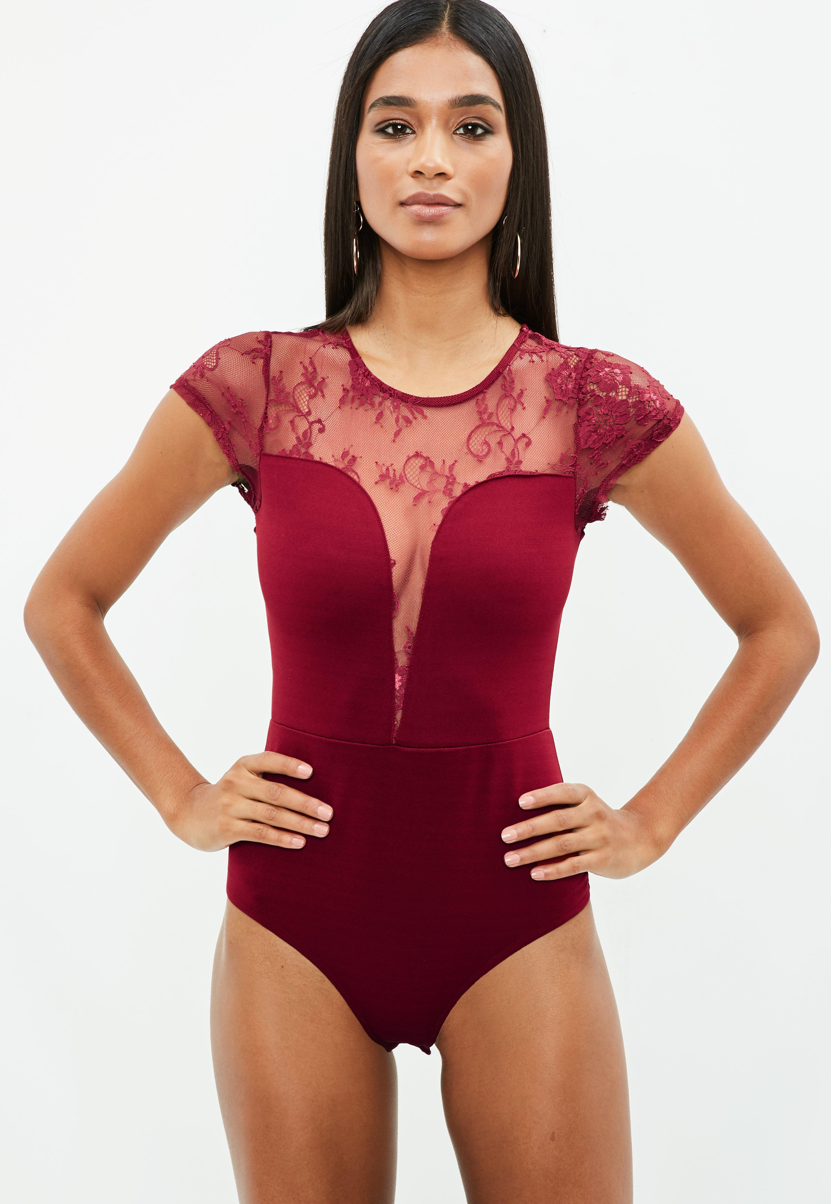 5a8b1007db Lyst - Missguided Burgundy Lace Bodysuit in Red