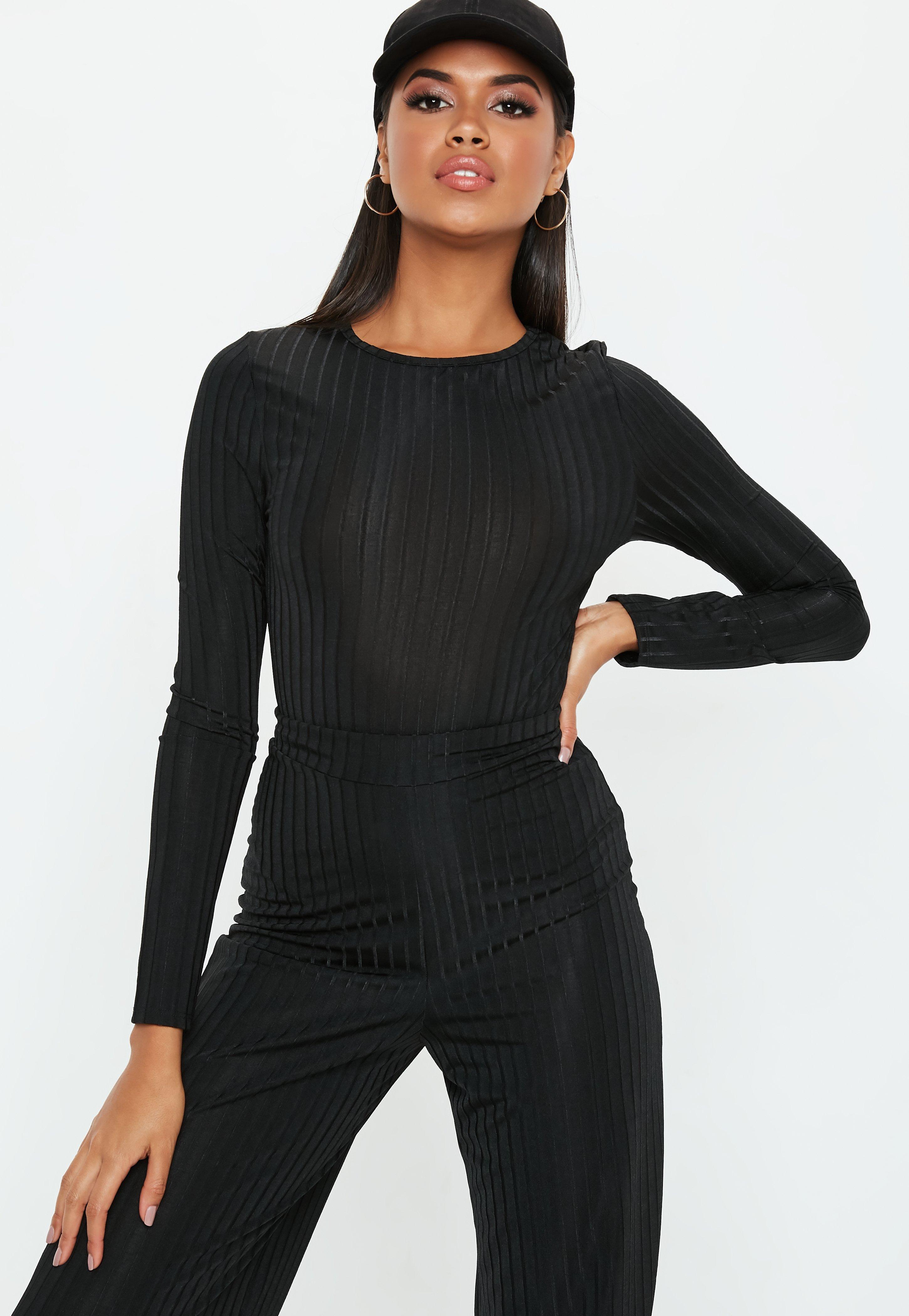 Lyst - Missguided Black Shiny Ribbed Long Sleeve Bodysuit in Black 4d3b9e07c